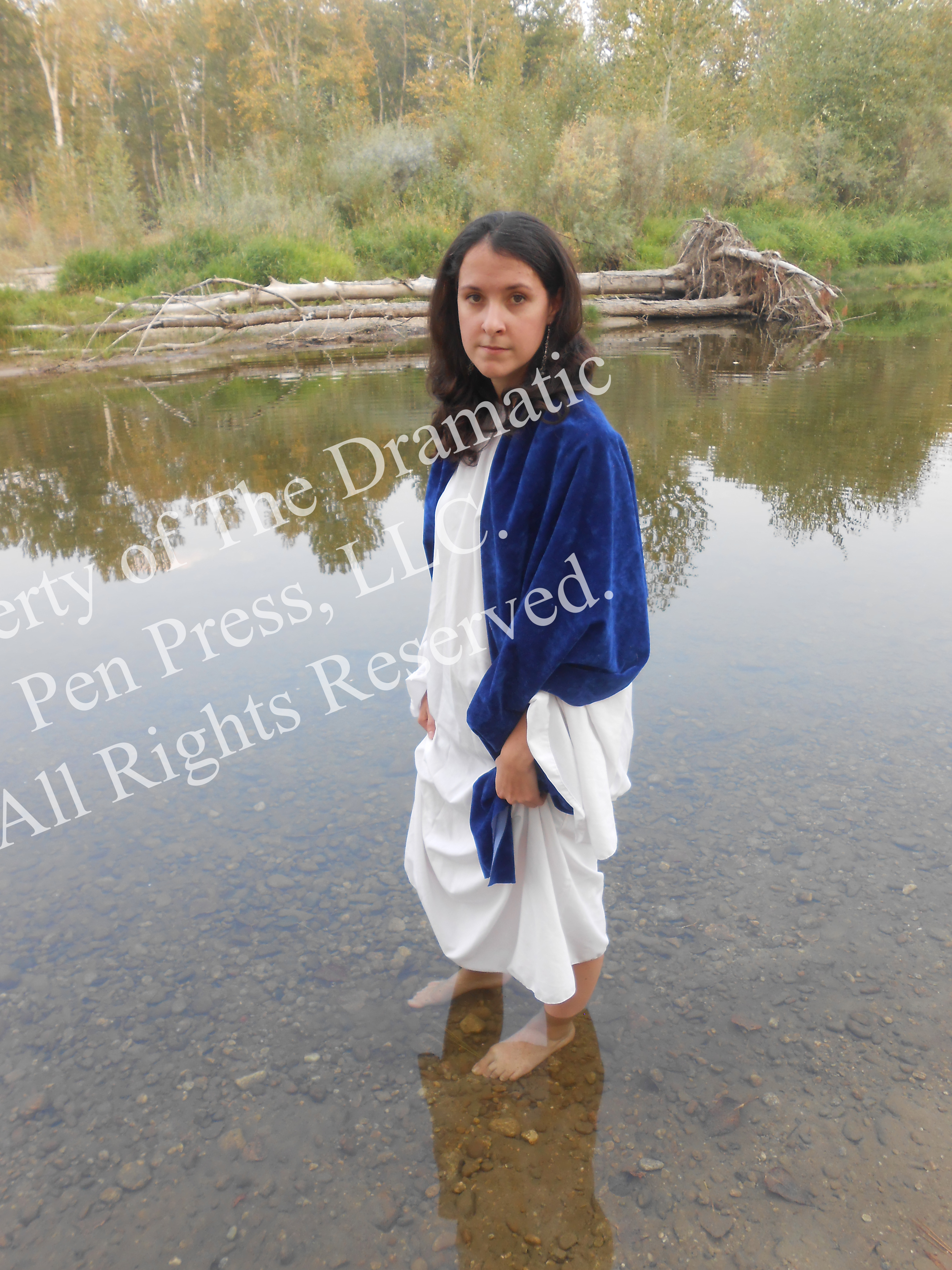 Biblical Woman Stands in River