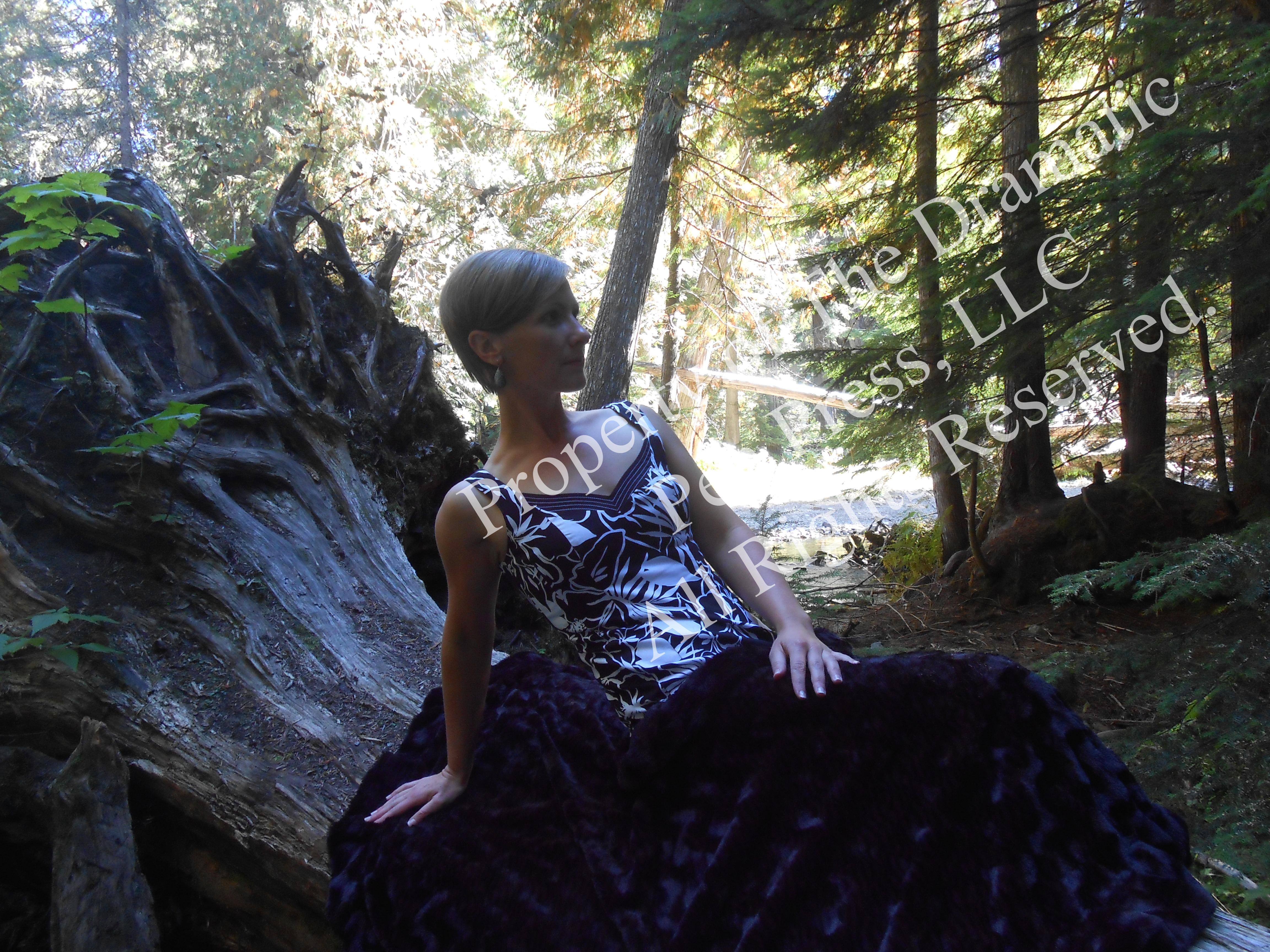 Woman Leaning Back Woods Fur Blanket