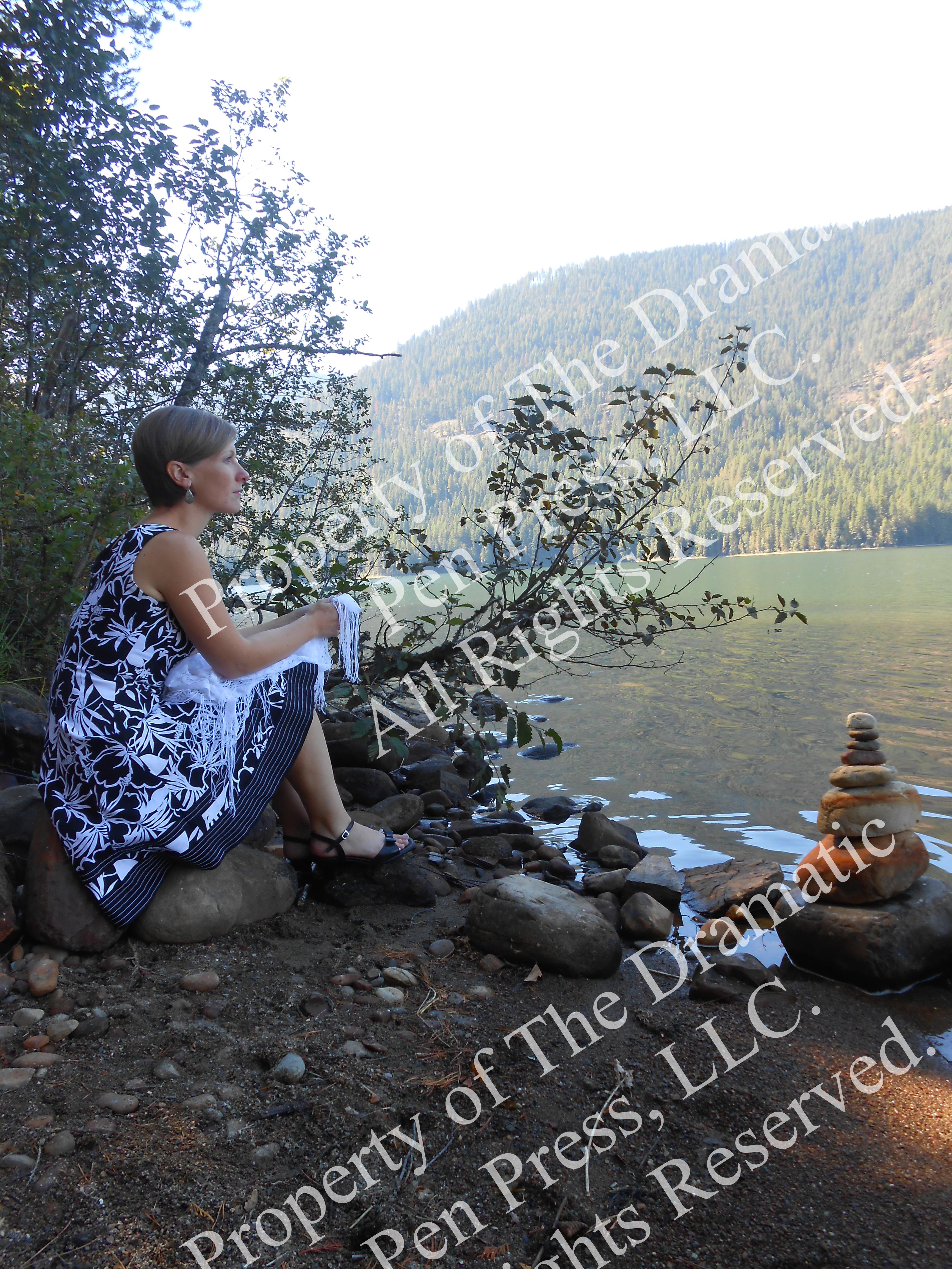 Sideview Woman Lake Stones