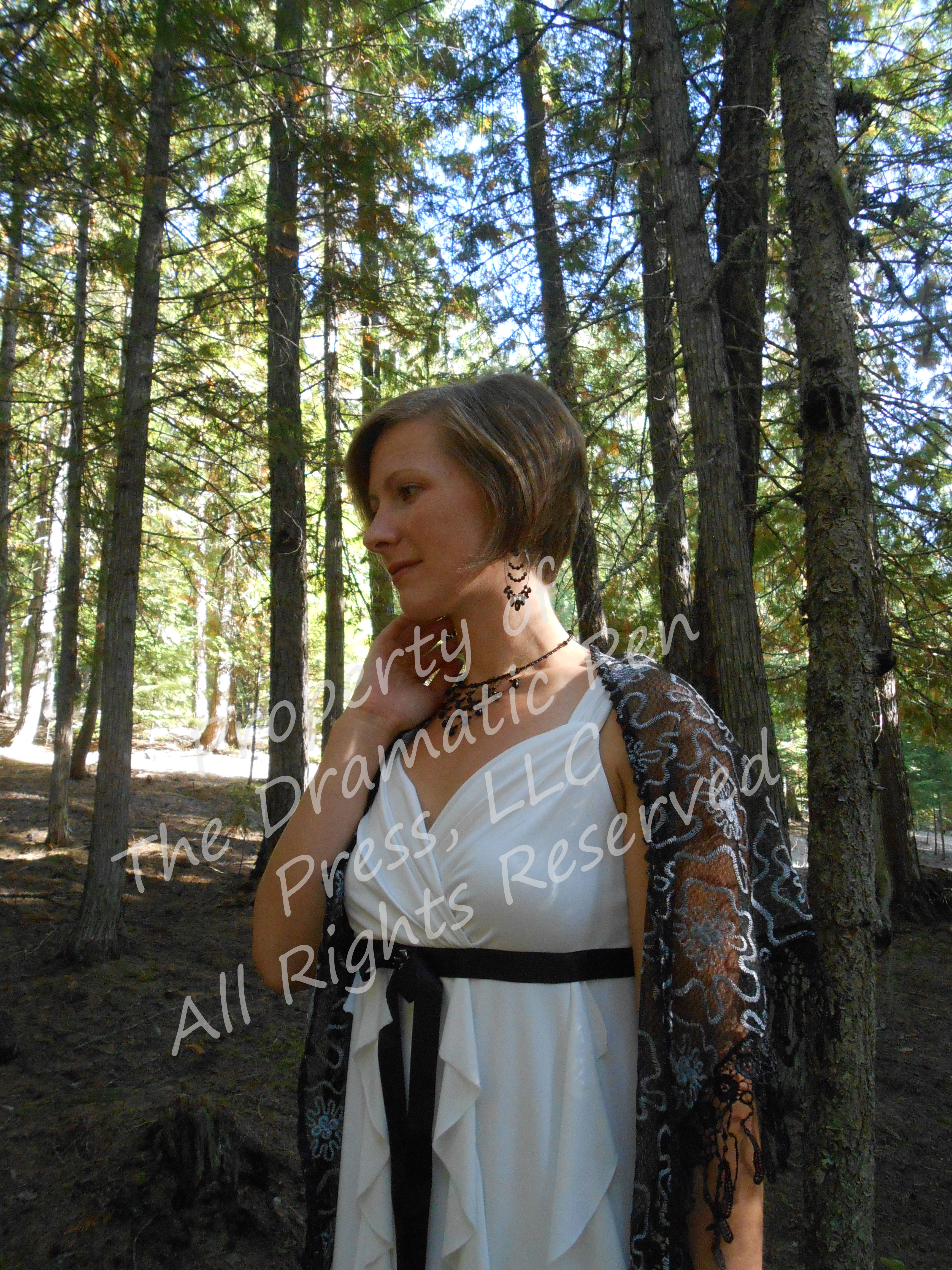 Woman in Woods Black White Pensive