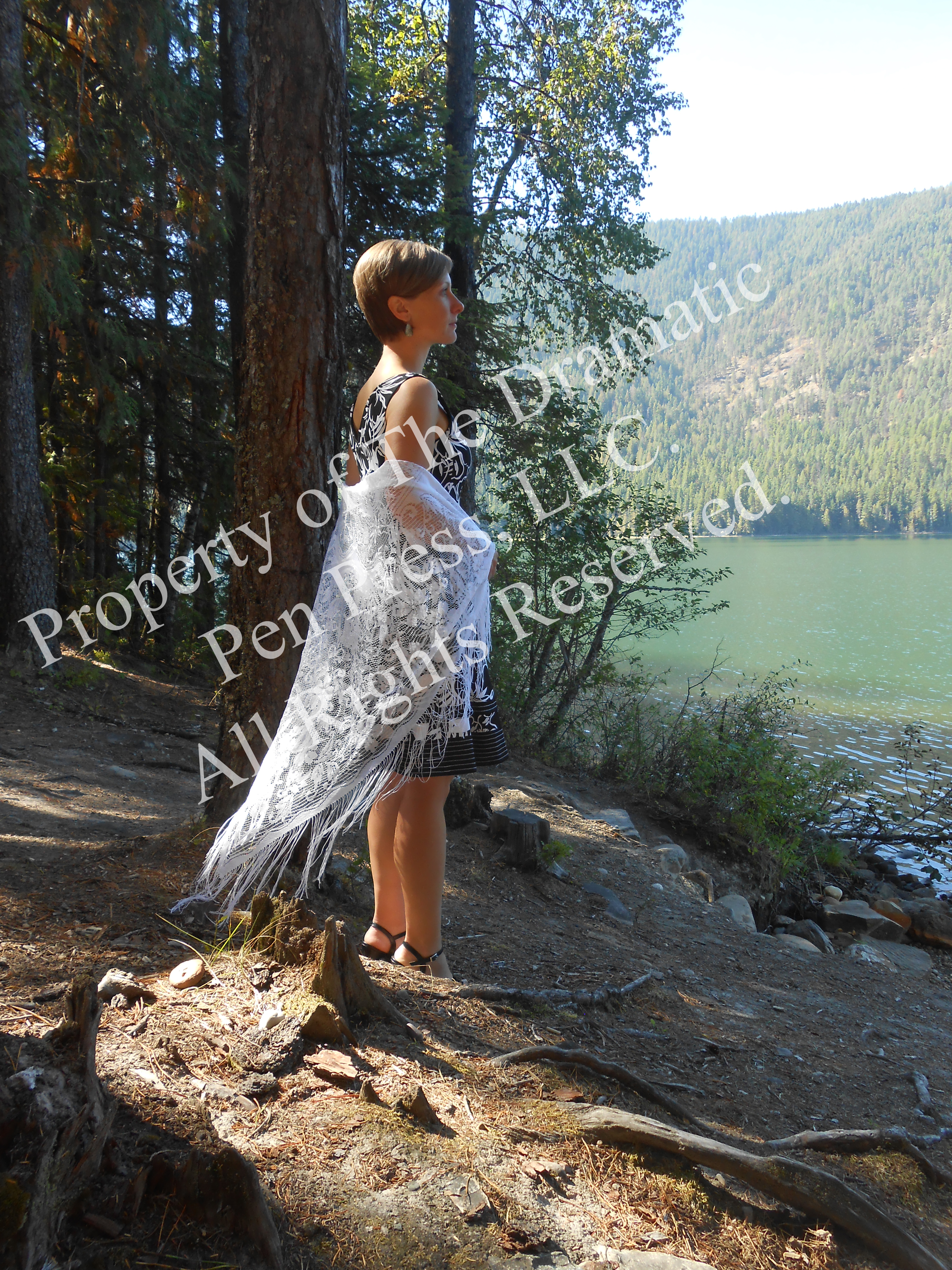 Woman with Lace on Shore