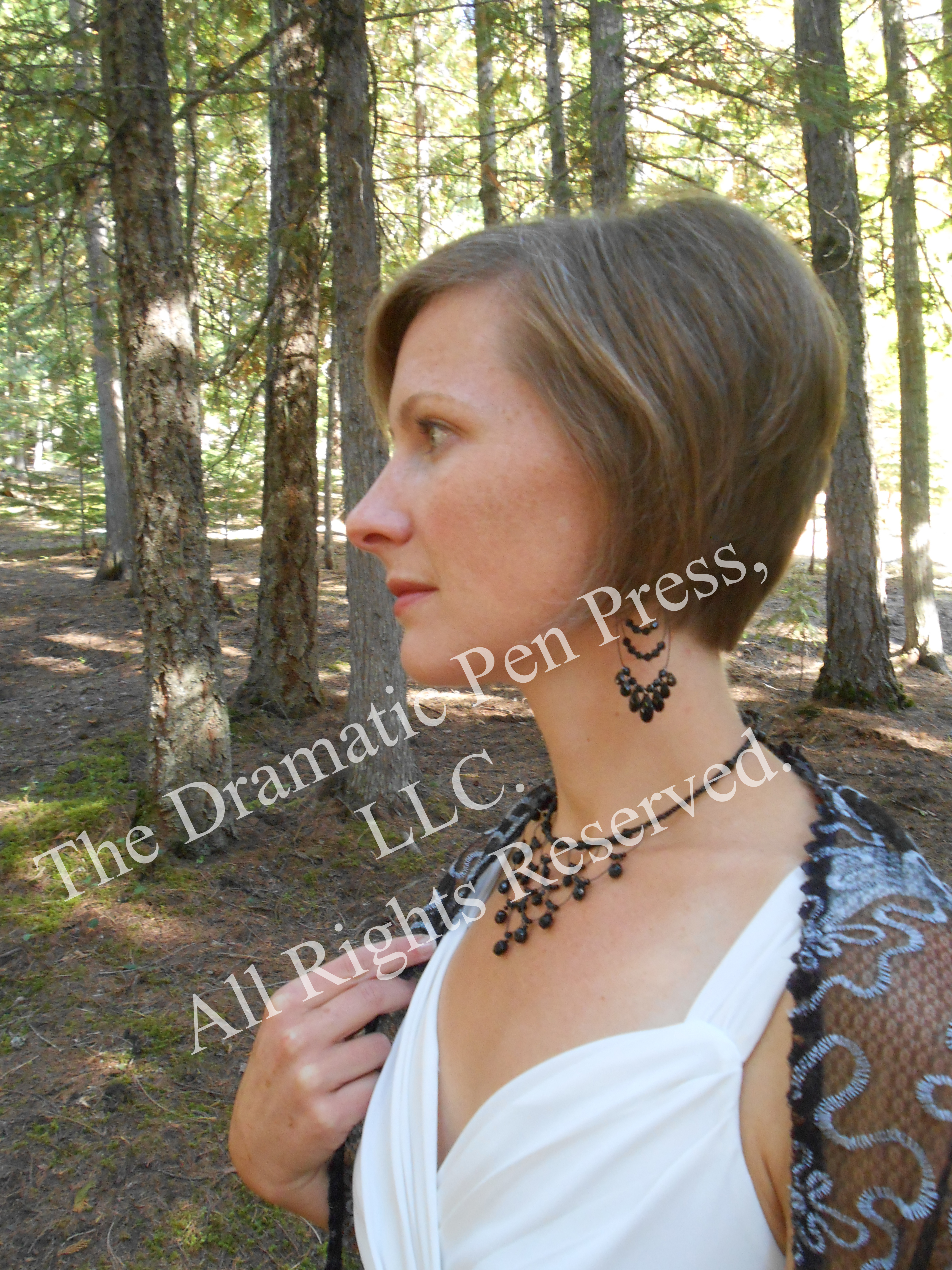 Woman in Woods White Dress
