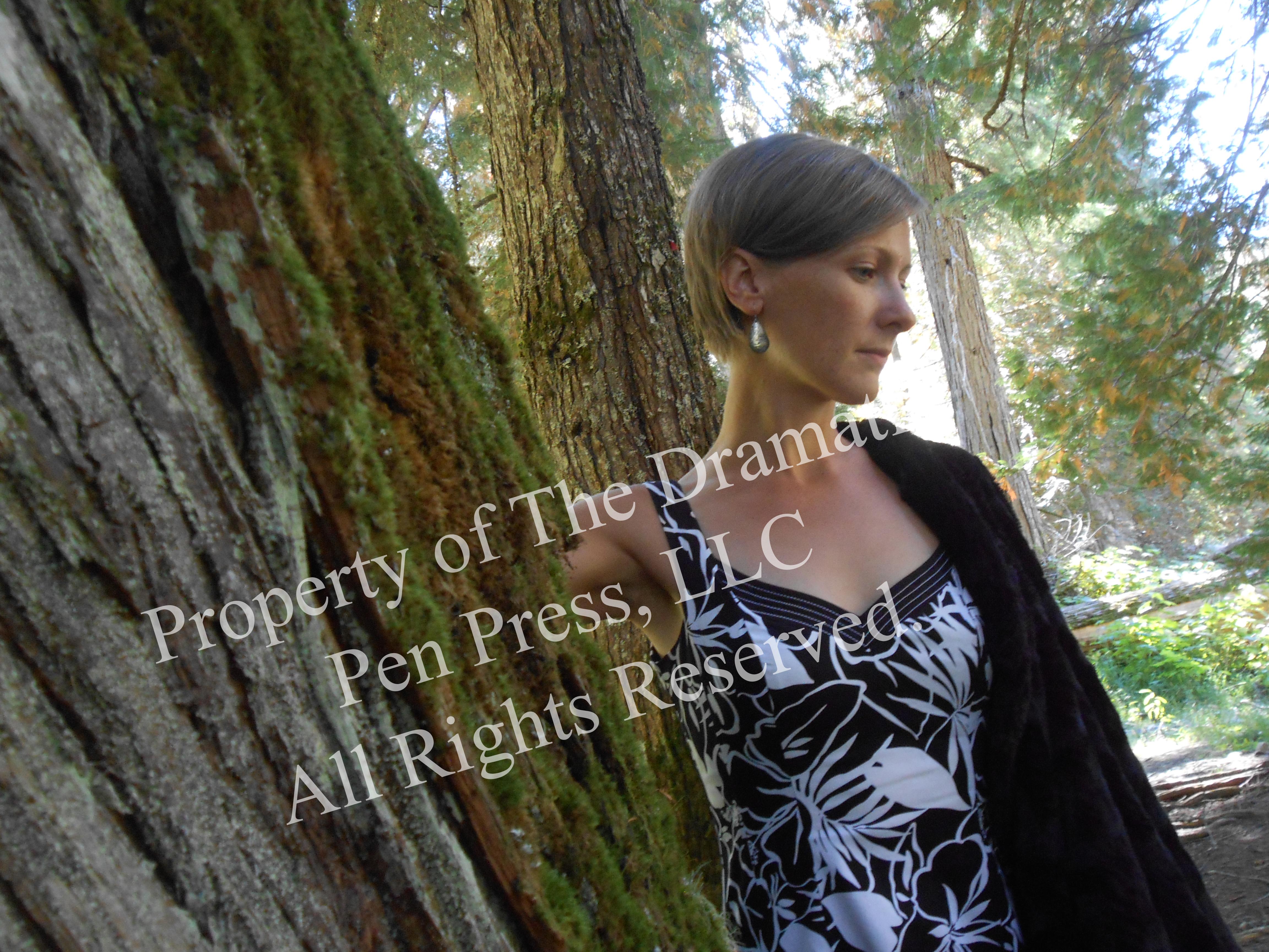 Woman By Tree Black White