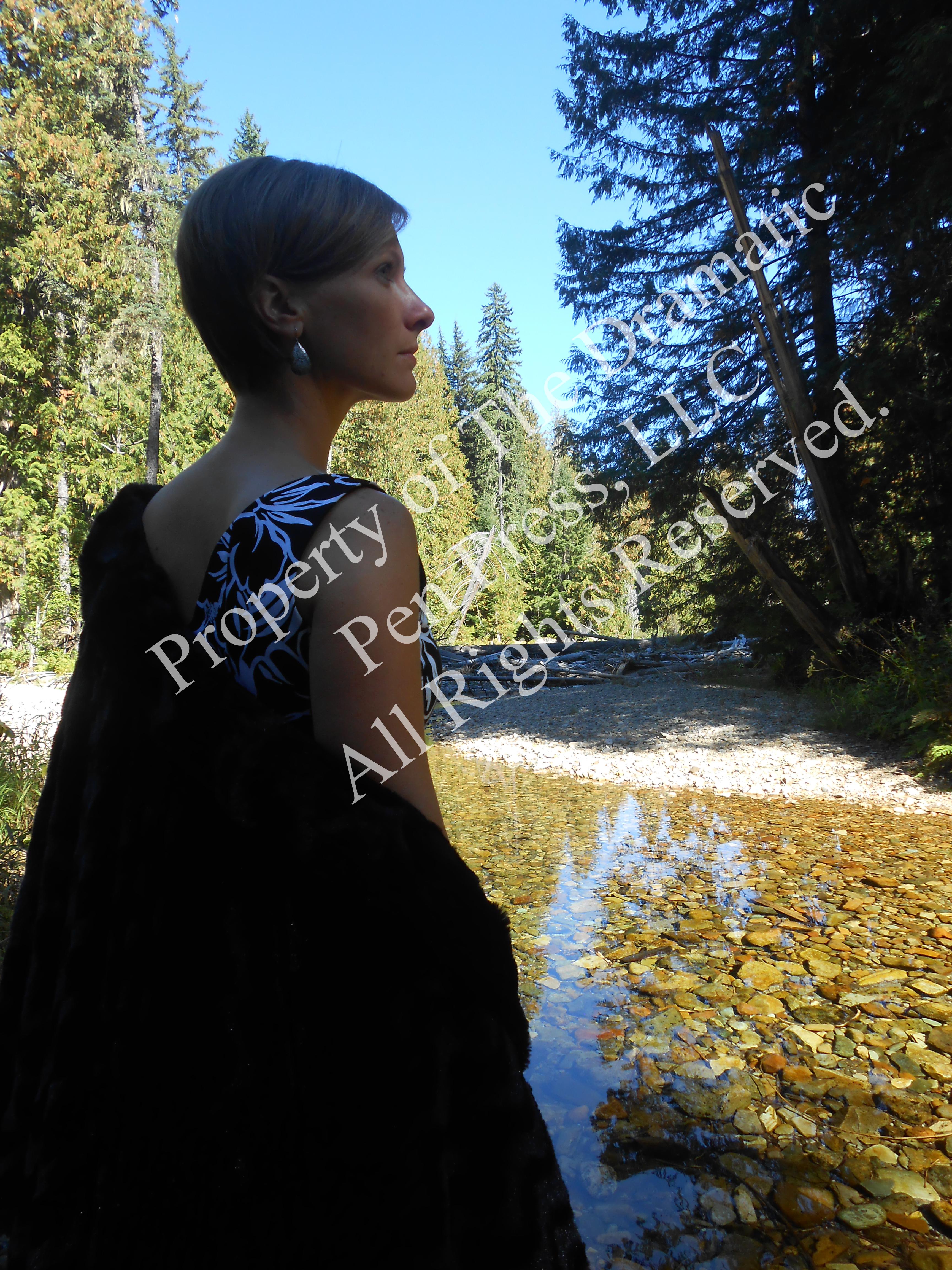 Woman Fur Coat by River