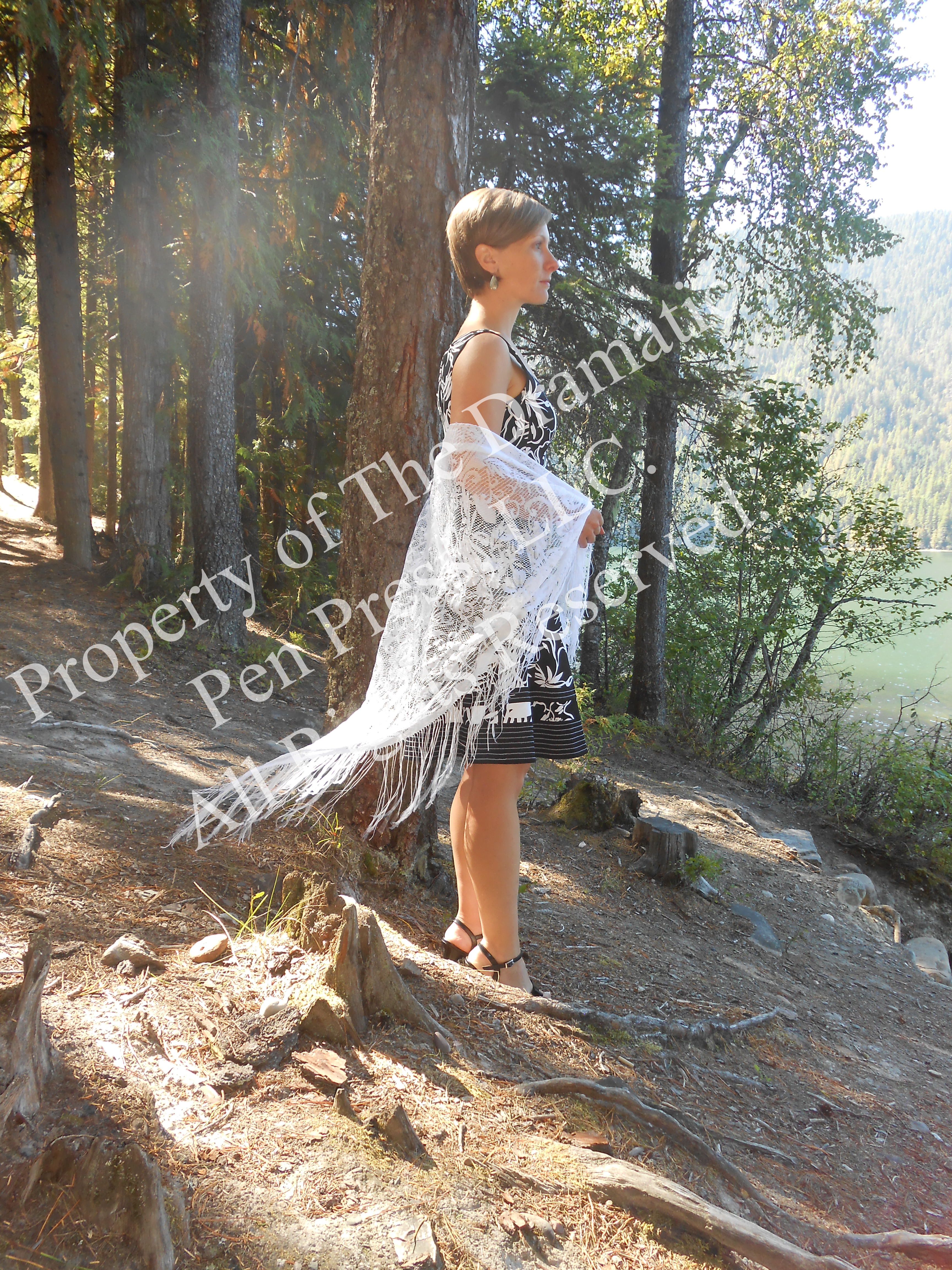 Woman in Sunshine with Lace