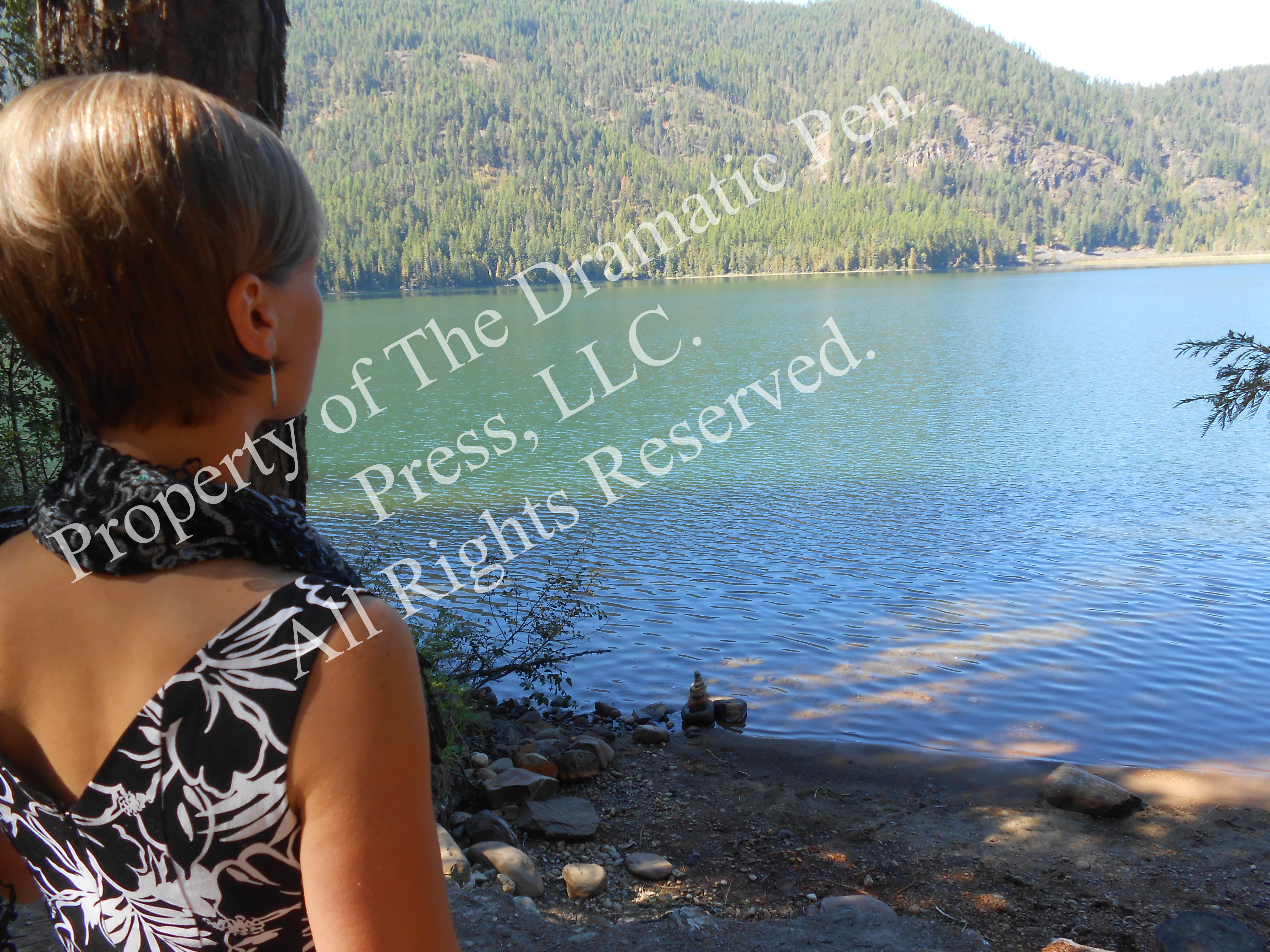 Woman with Scarf Looking Away Lake