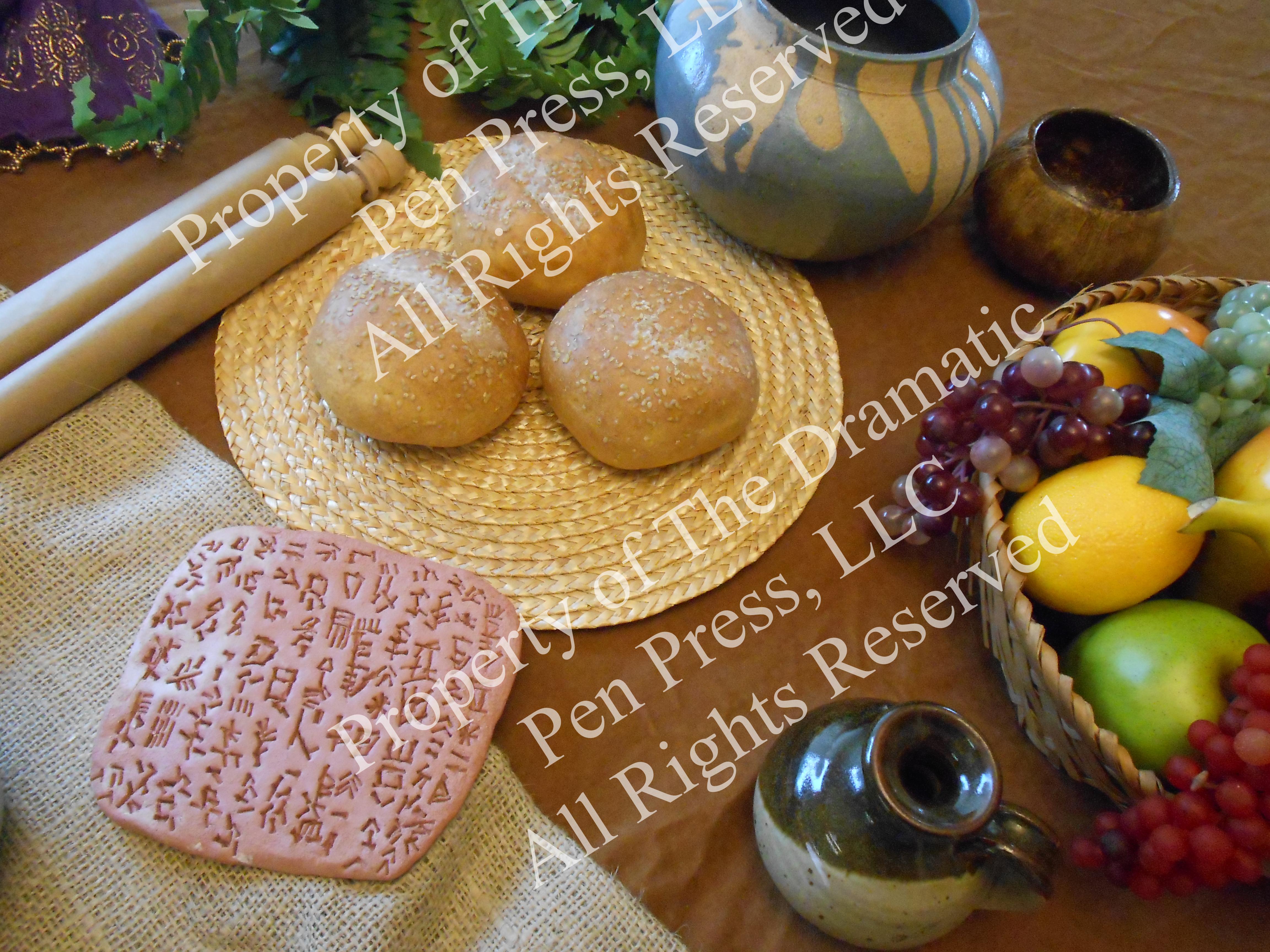 Cuneiform Clay Tablet, Scroll, Food