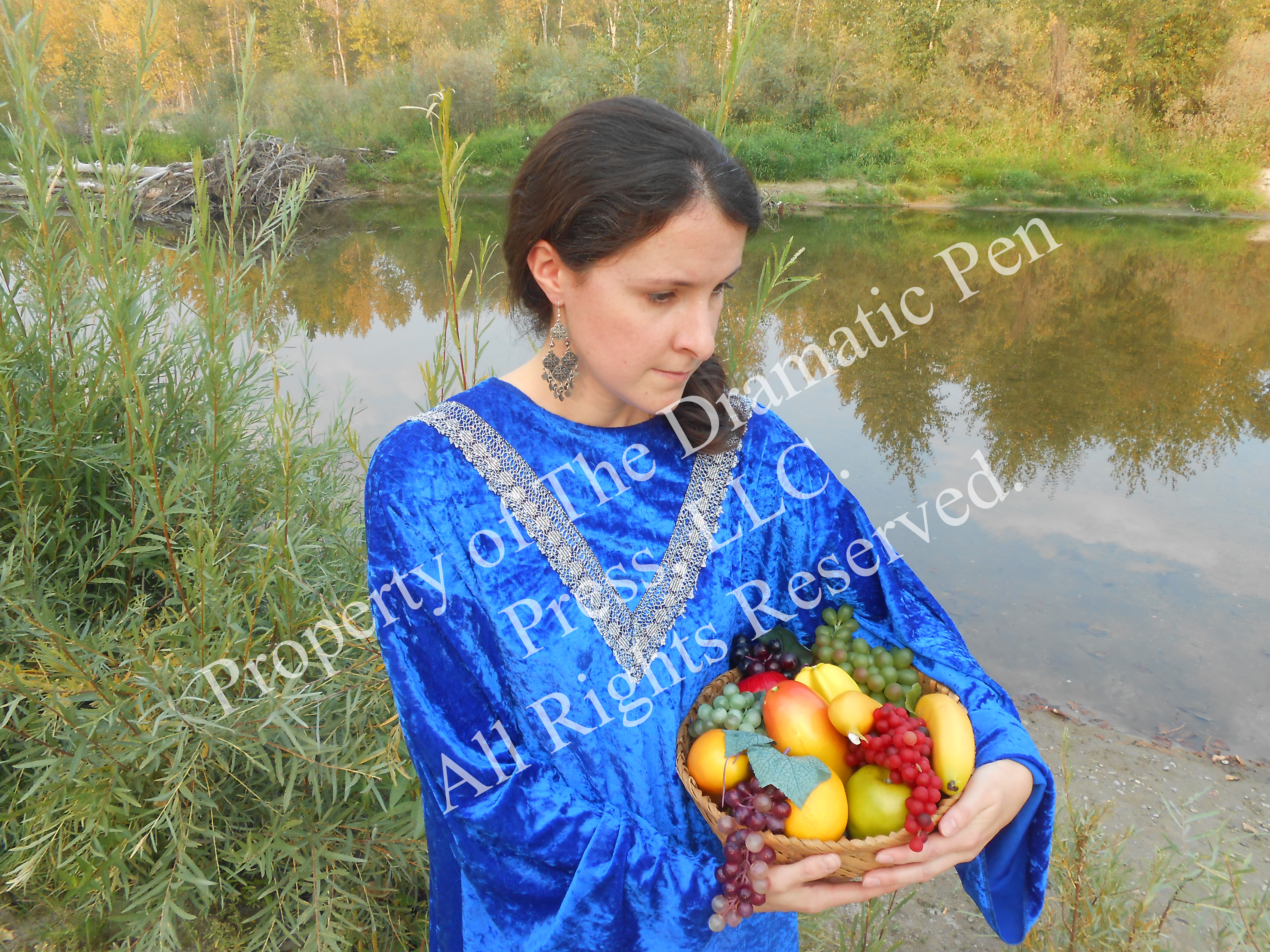 Biblical Woman with Fruit by Water