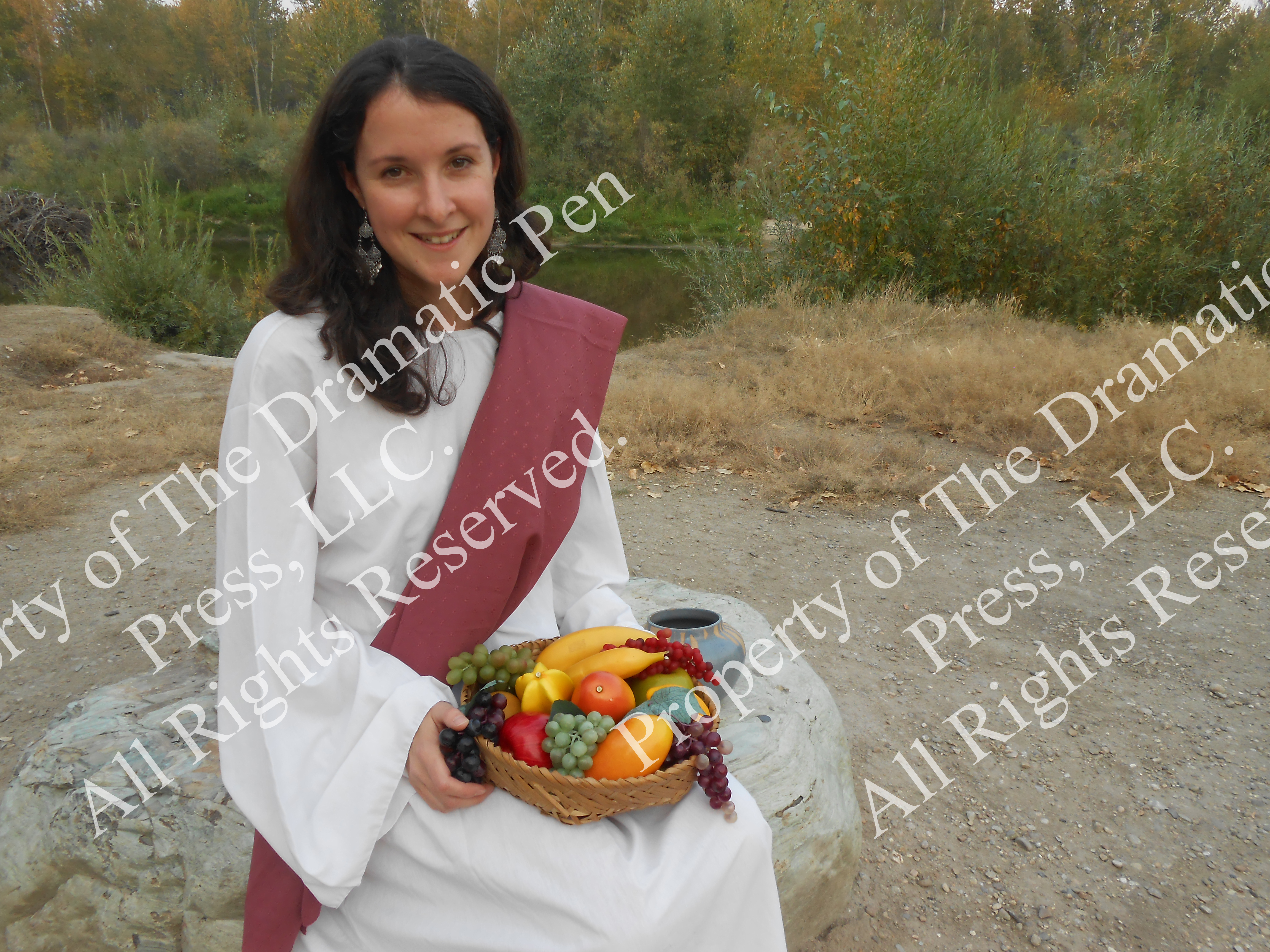 Biblical Woman Smiling with Fruit