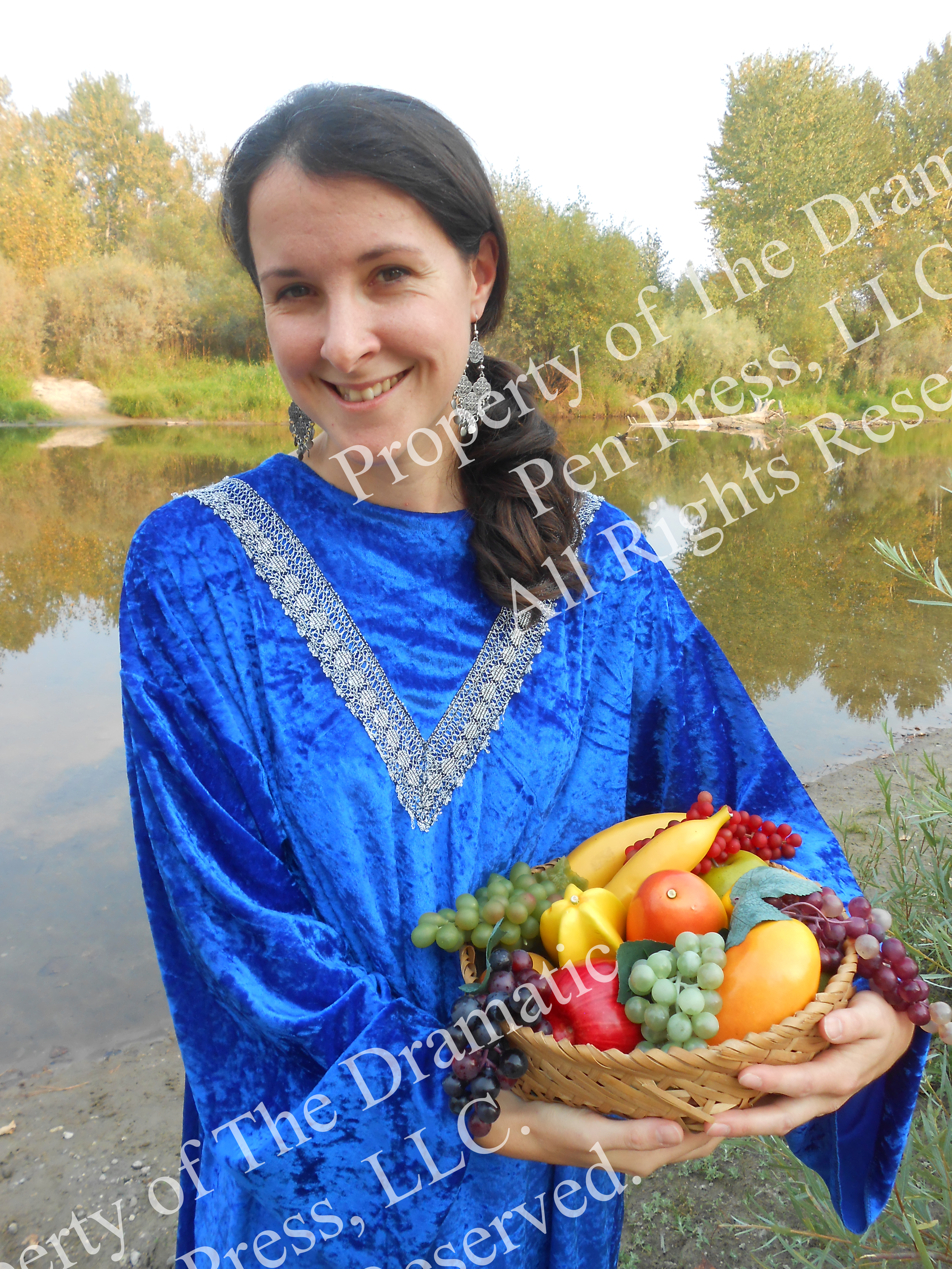 Biblical Woman with Fruit Smiling