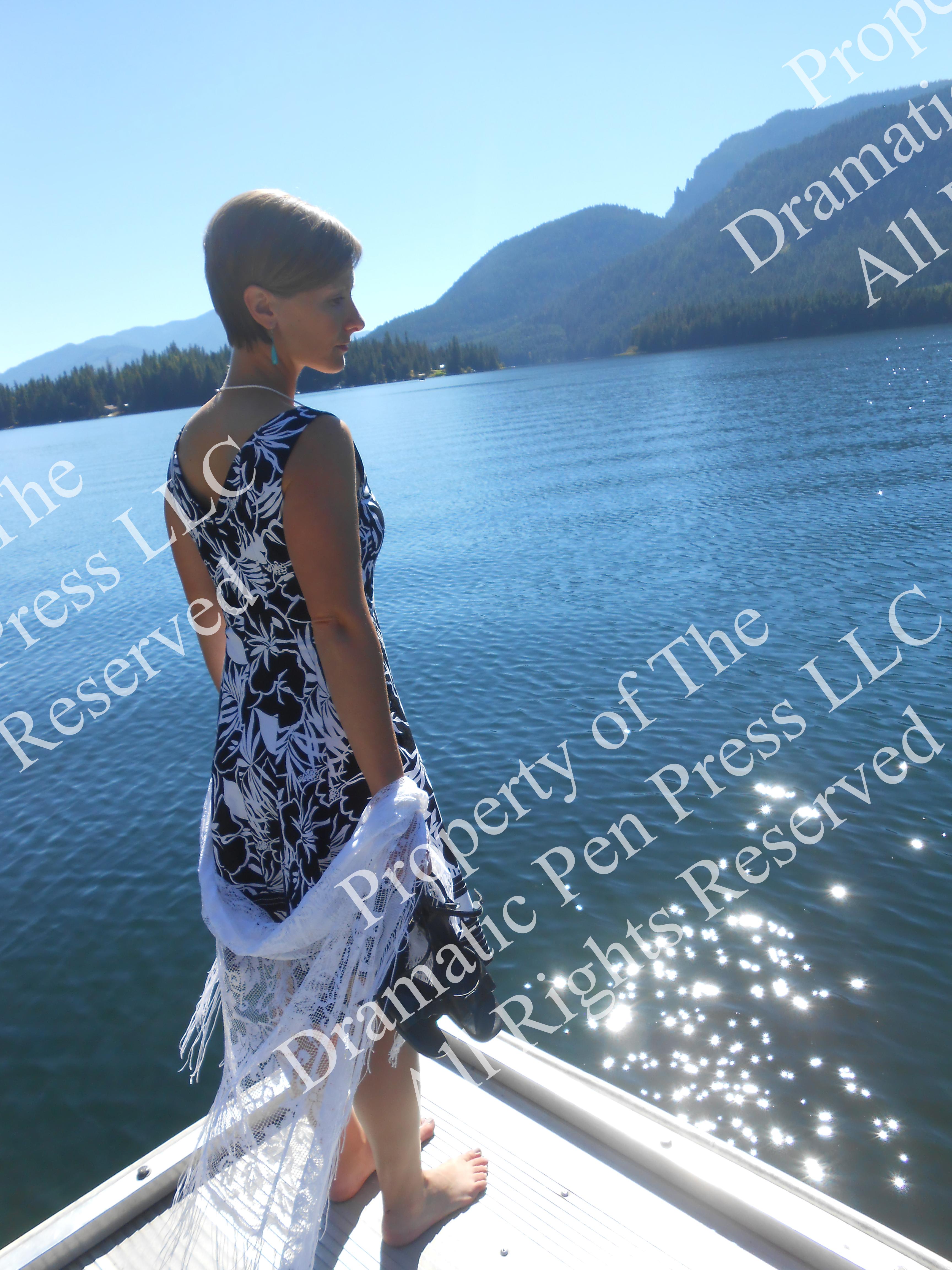 Woman Mountain Lake Sunlight Water
