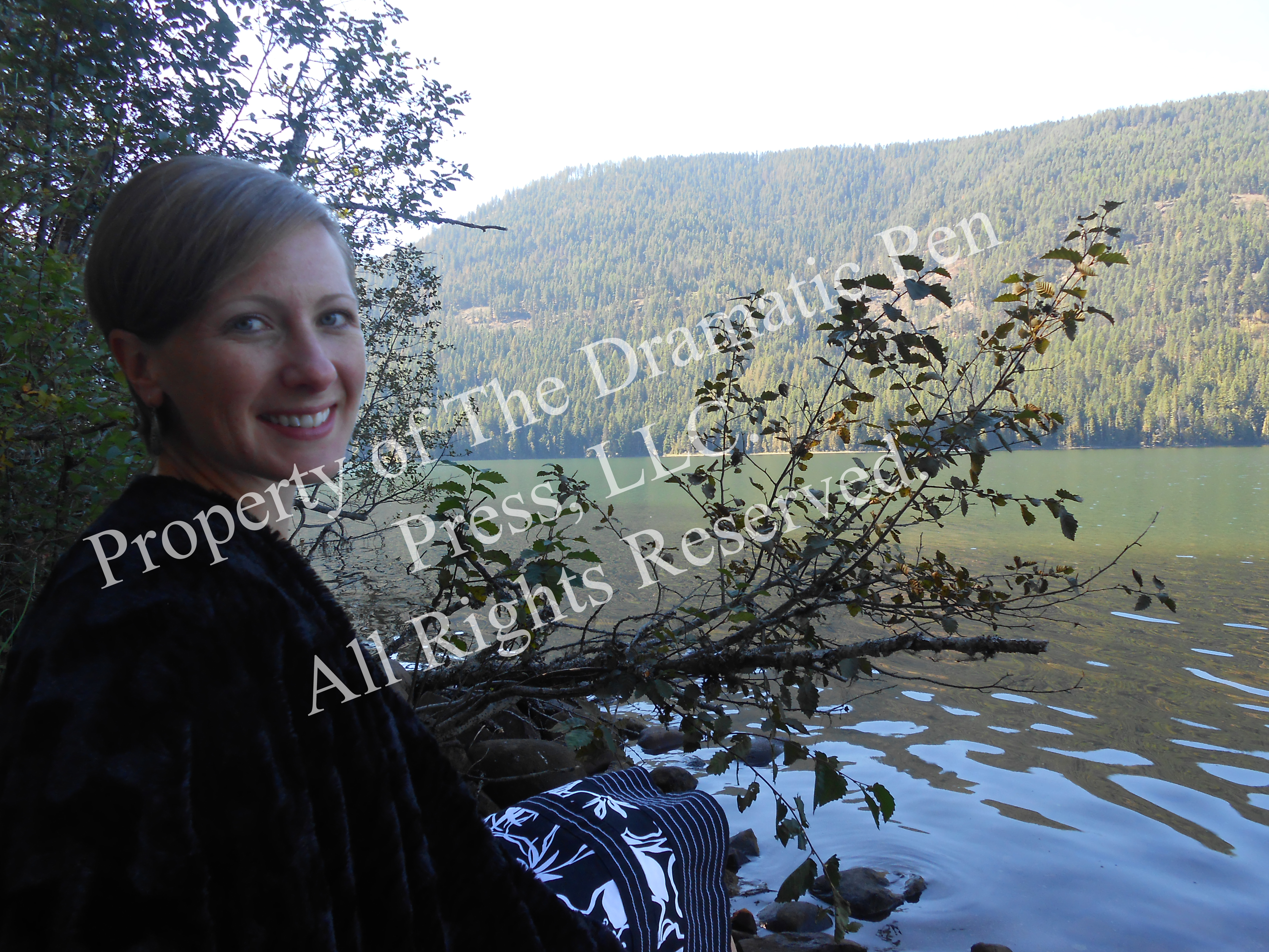 Smiling Woman by Lake Fur Coat