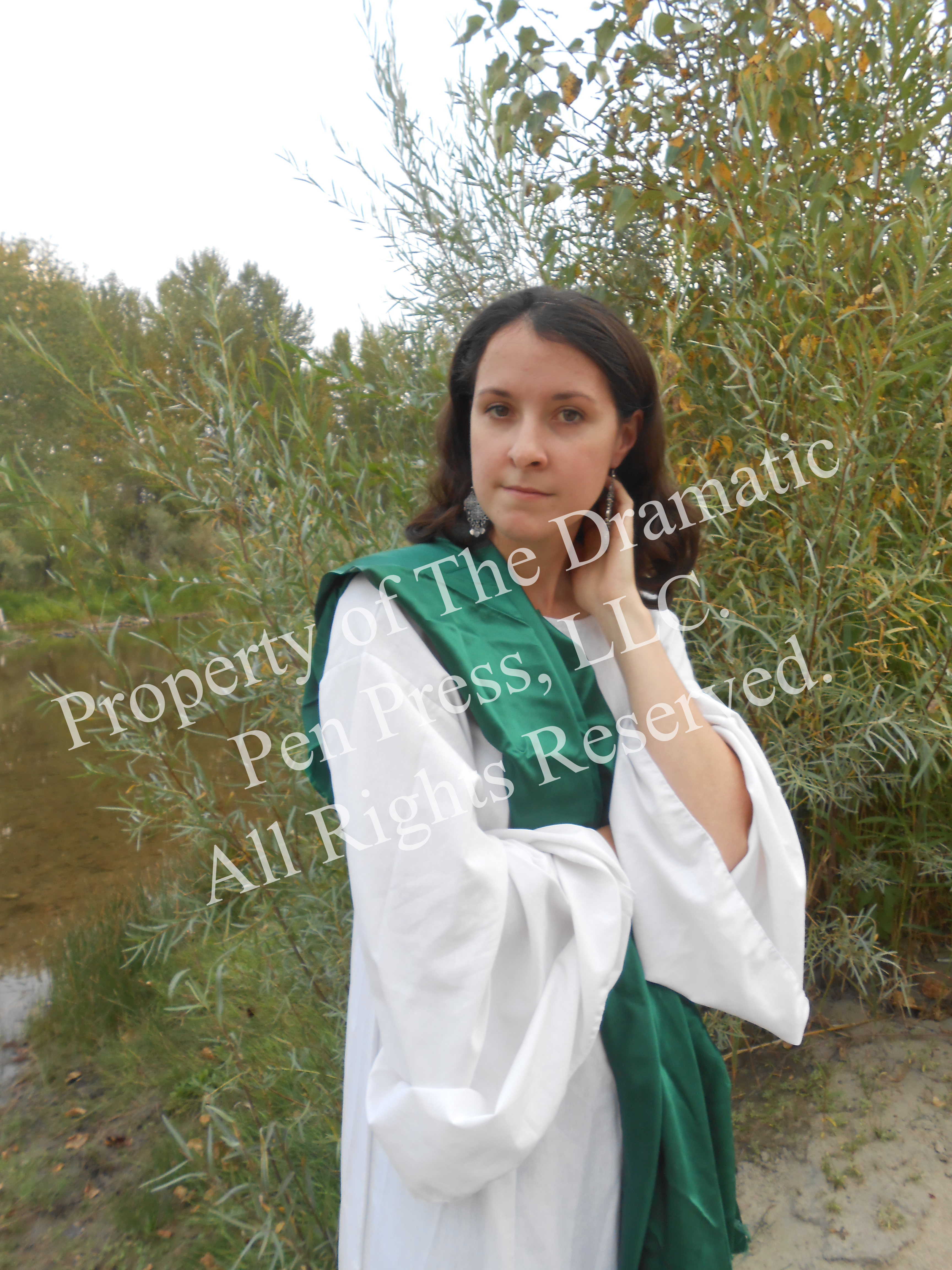 Biblical Woman Green White
