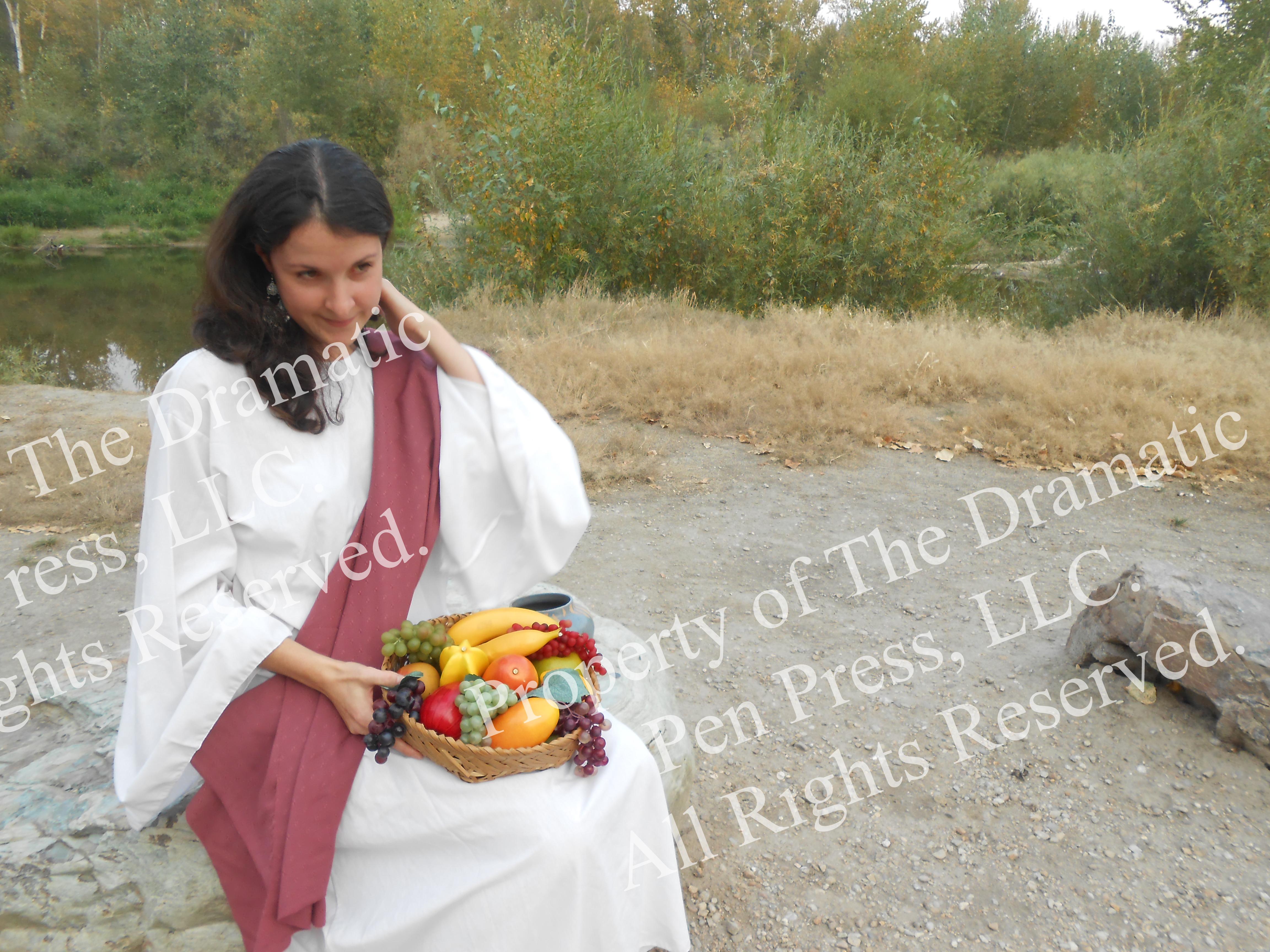 Biblical Woman Sitting Pink White