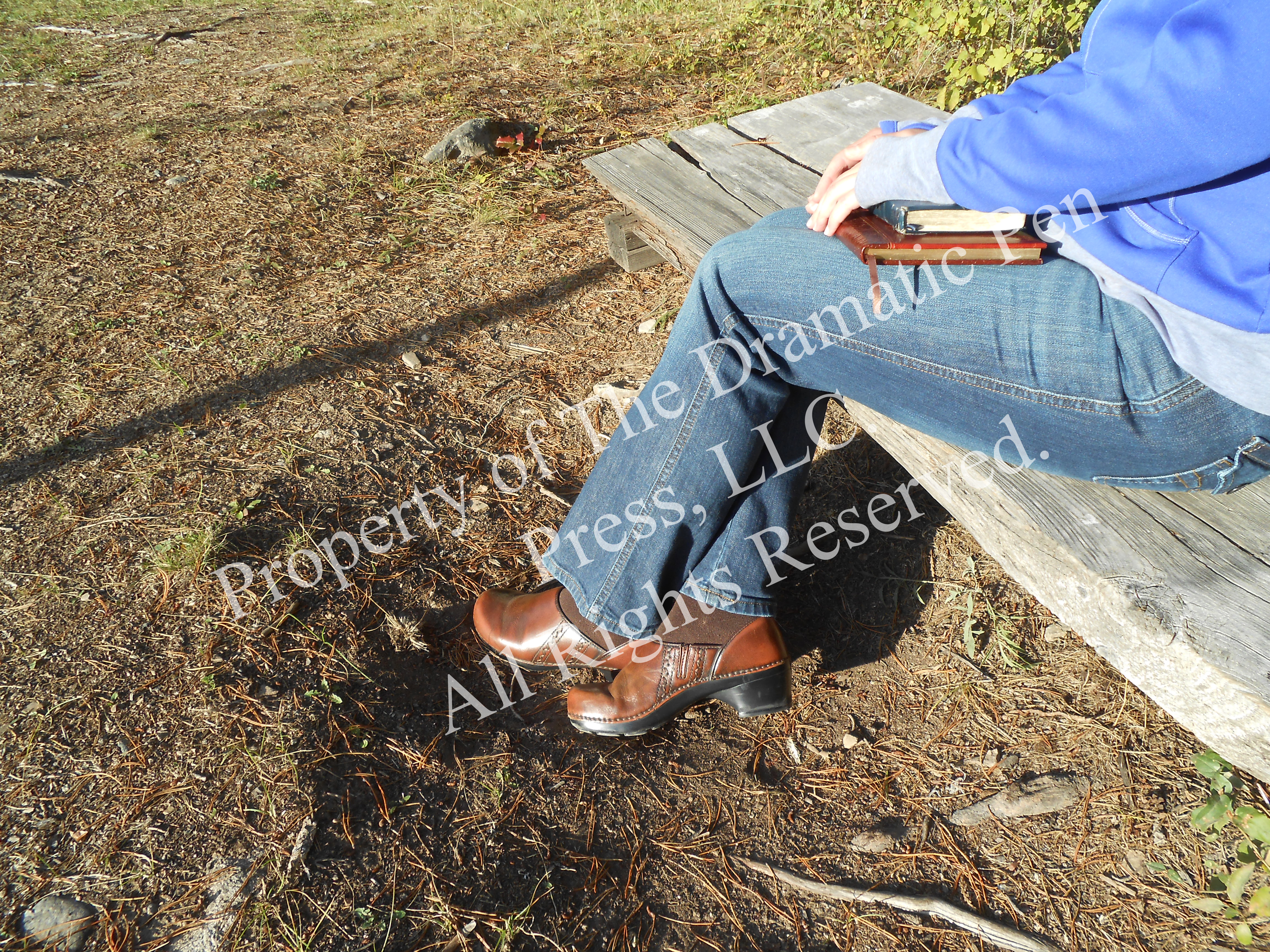 Woman on Wooden Bench Legs