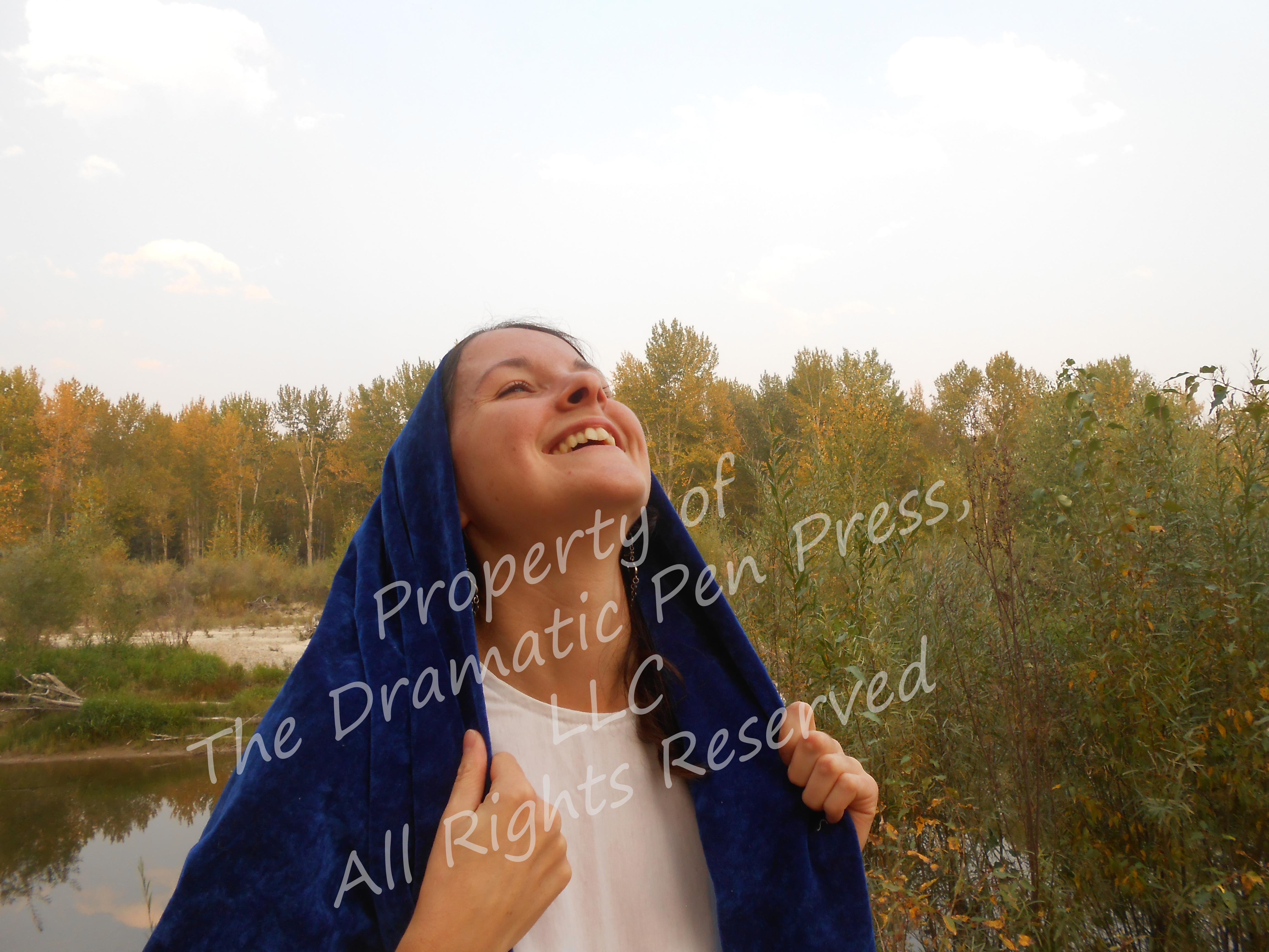 Biblical Woman Happy Blue & White