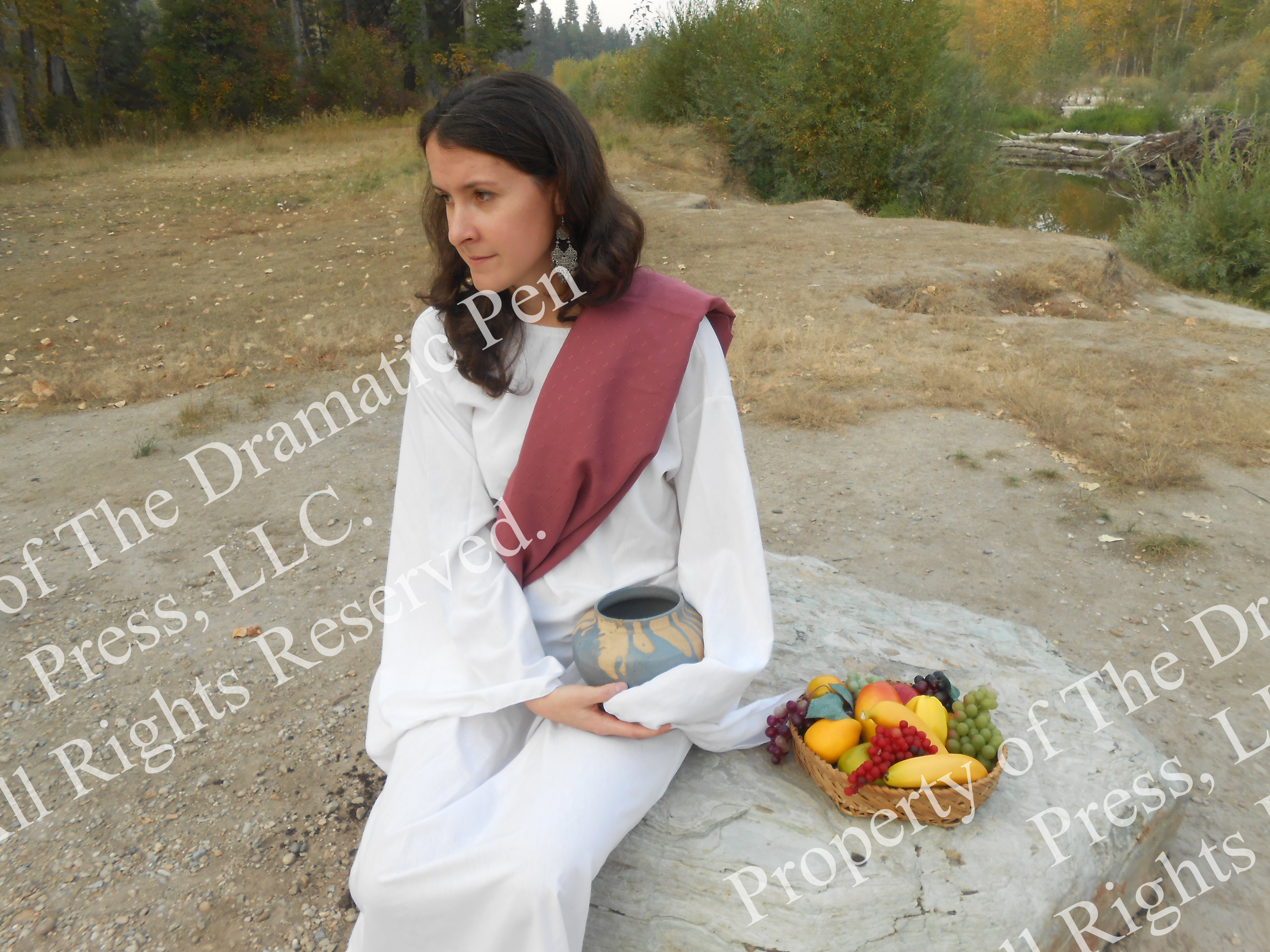 Lonely Bible Woman with Fruit