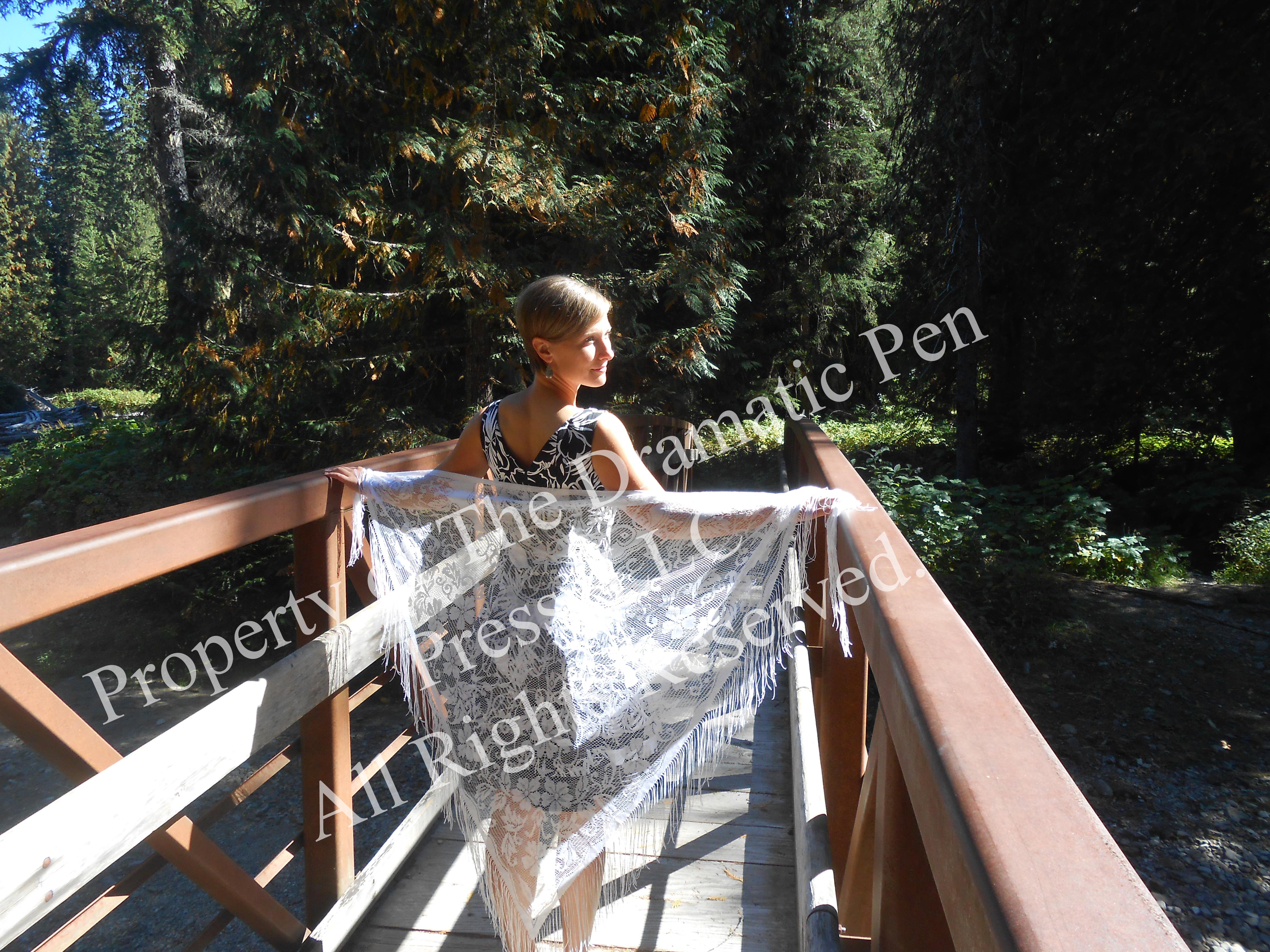 Woman on Bridge White Lace