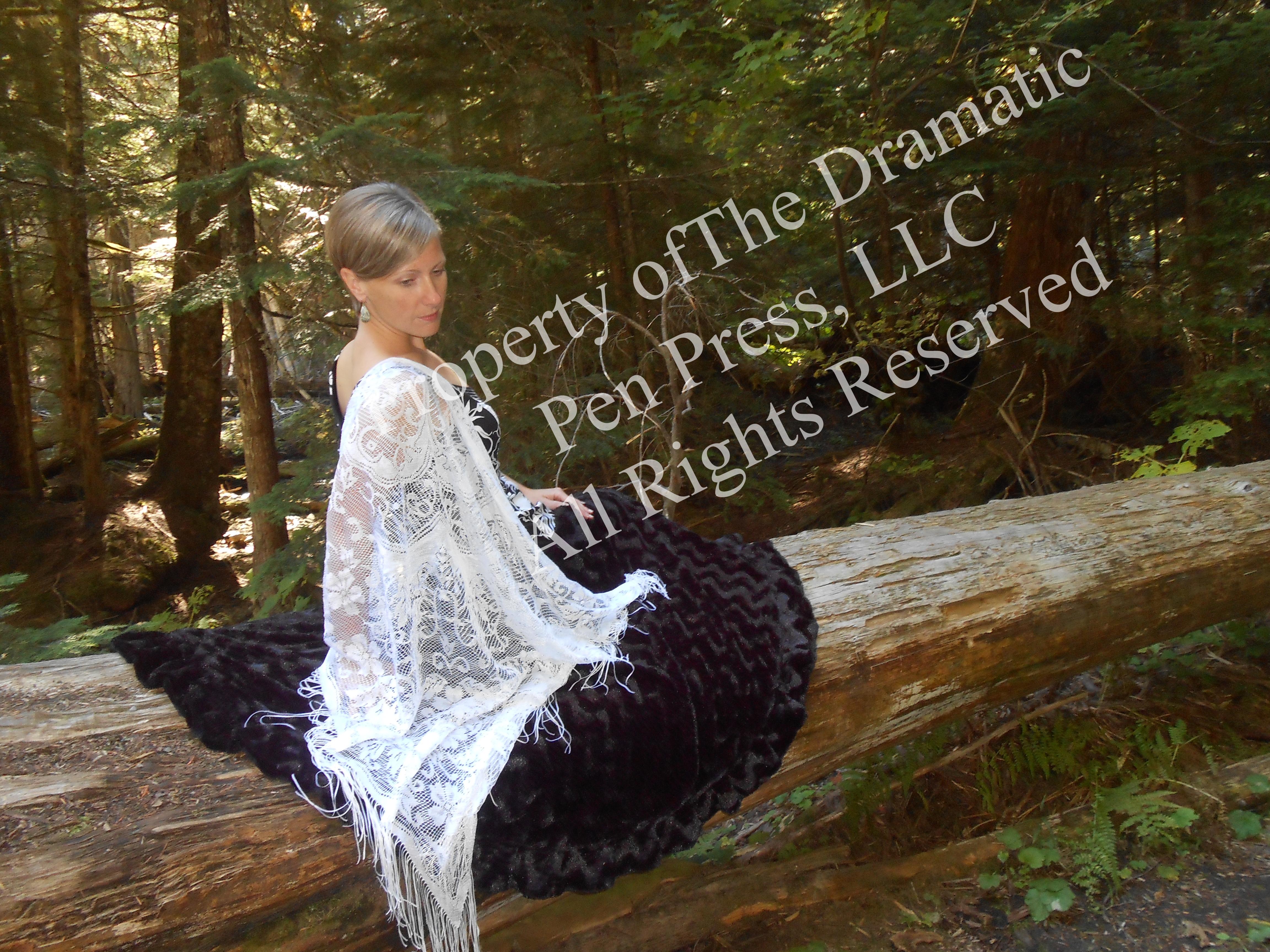 Woman on Fallen Tree Fur Blanket
