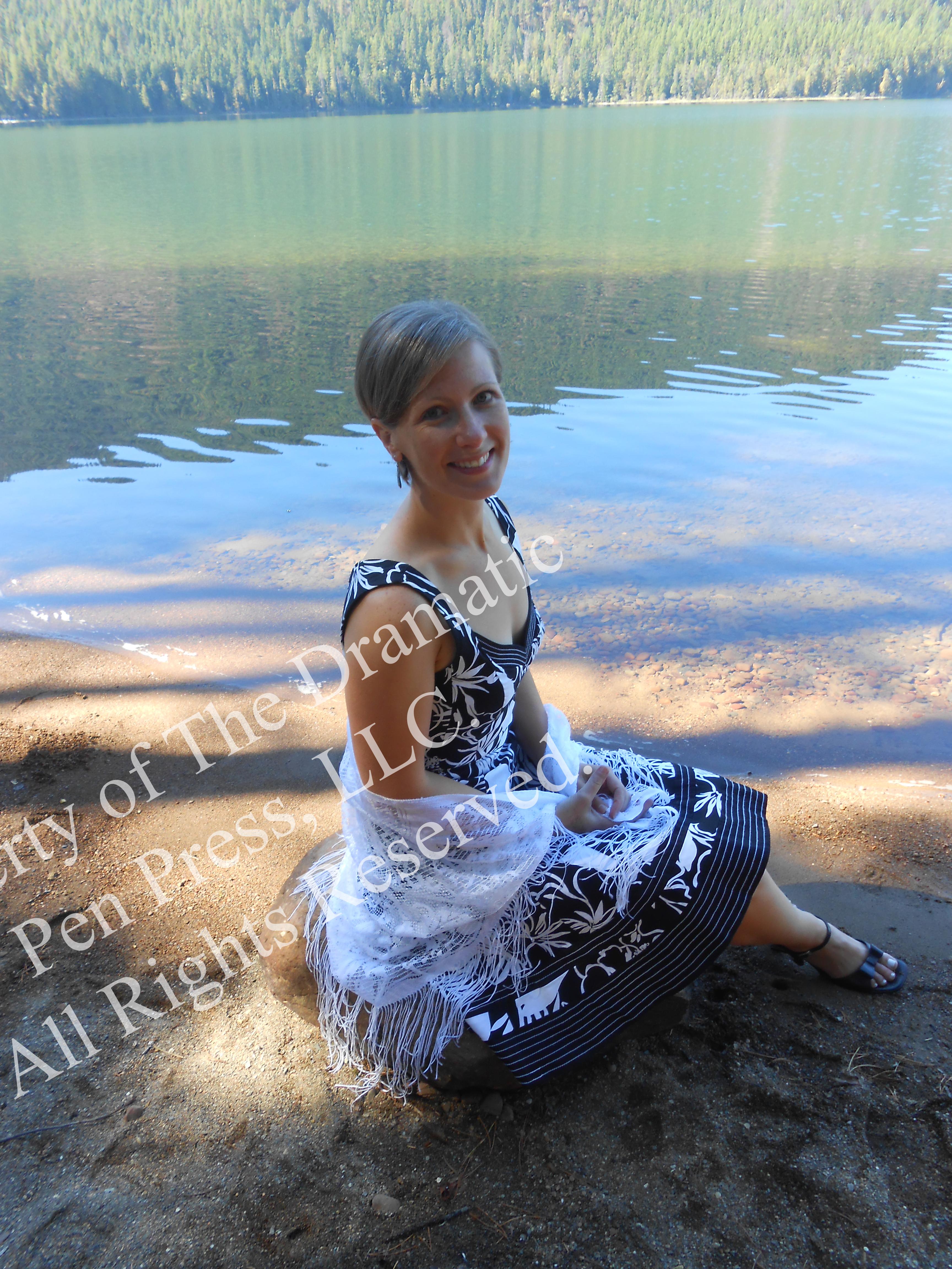 Woman by Lake Smiling