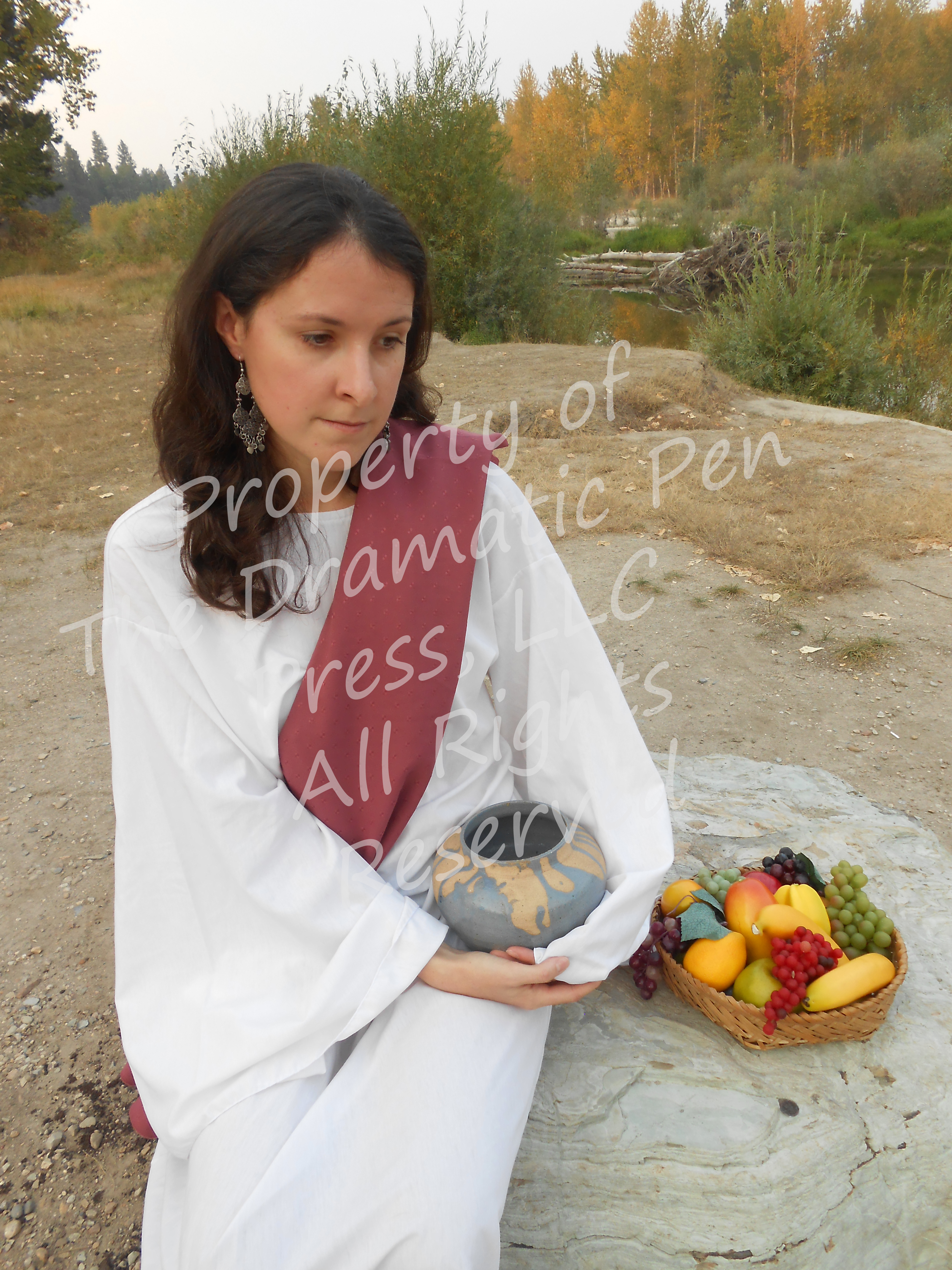 Biblical Woman with Fruit Pink White