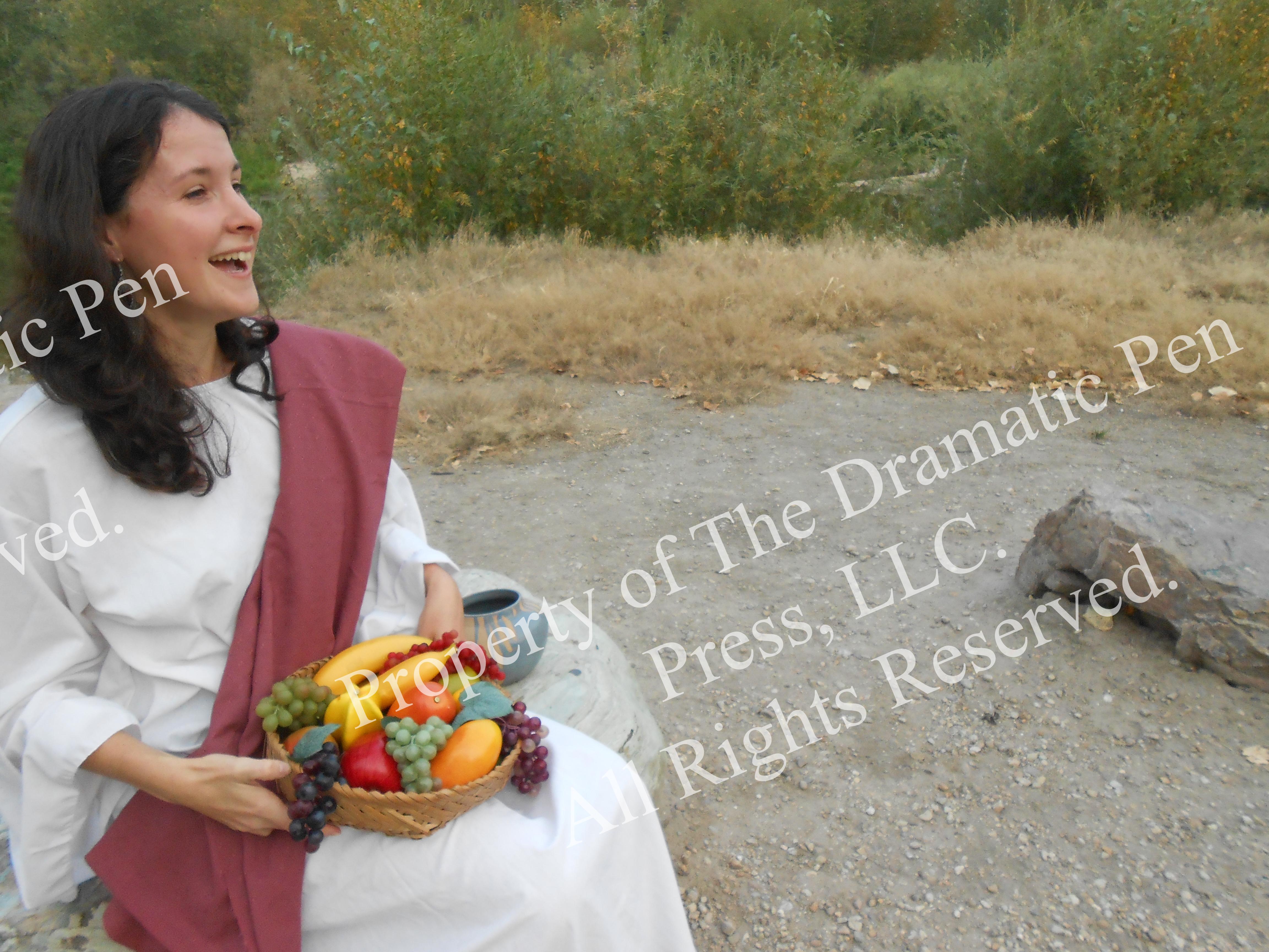 Biblical Woman Laughing Fruit