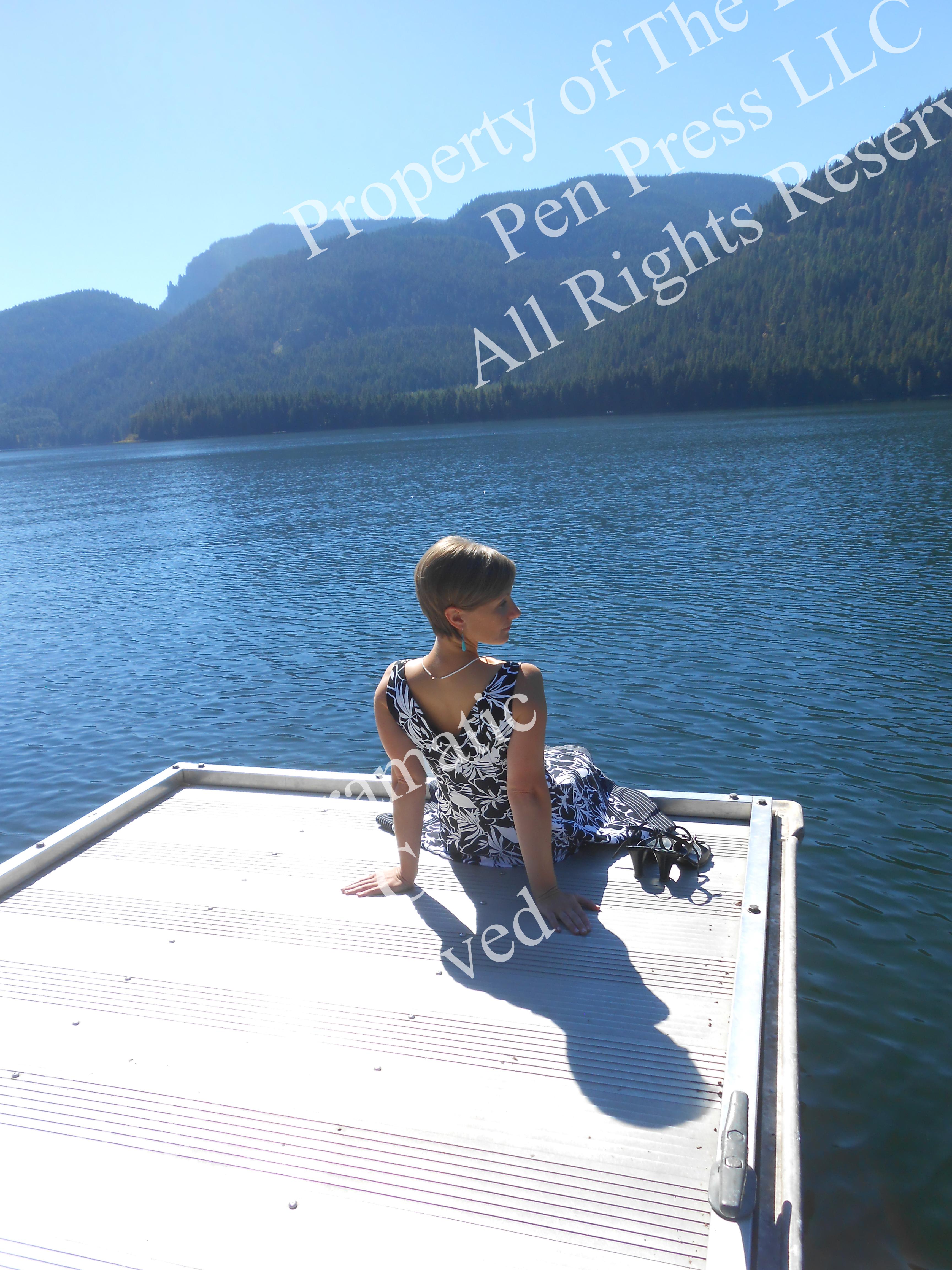 Woman on Dock Mountain Lake