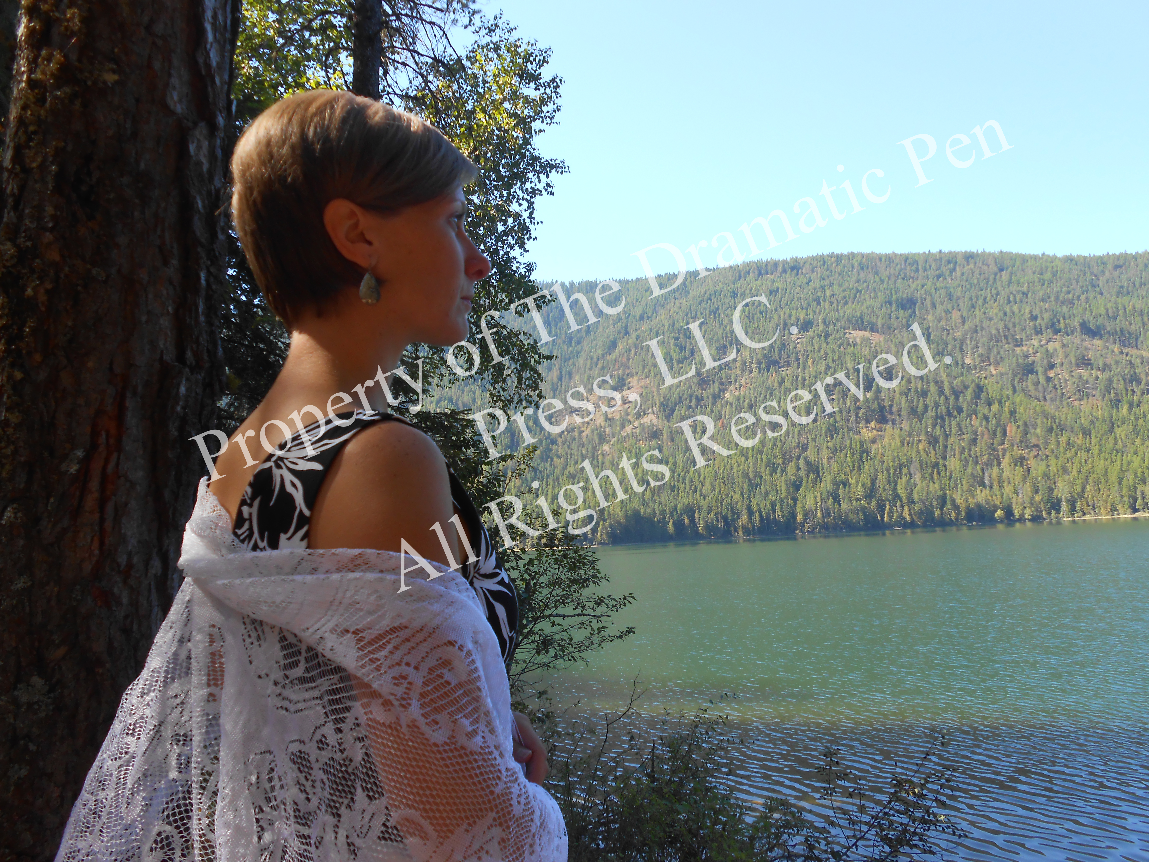 Lonely Woman with Lace by Lake