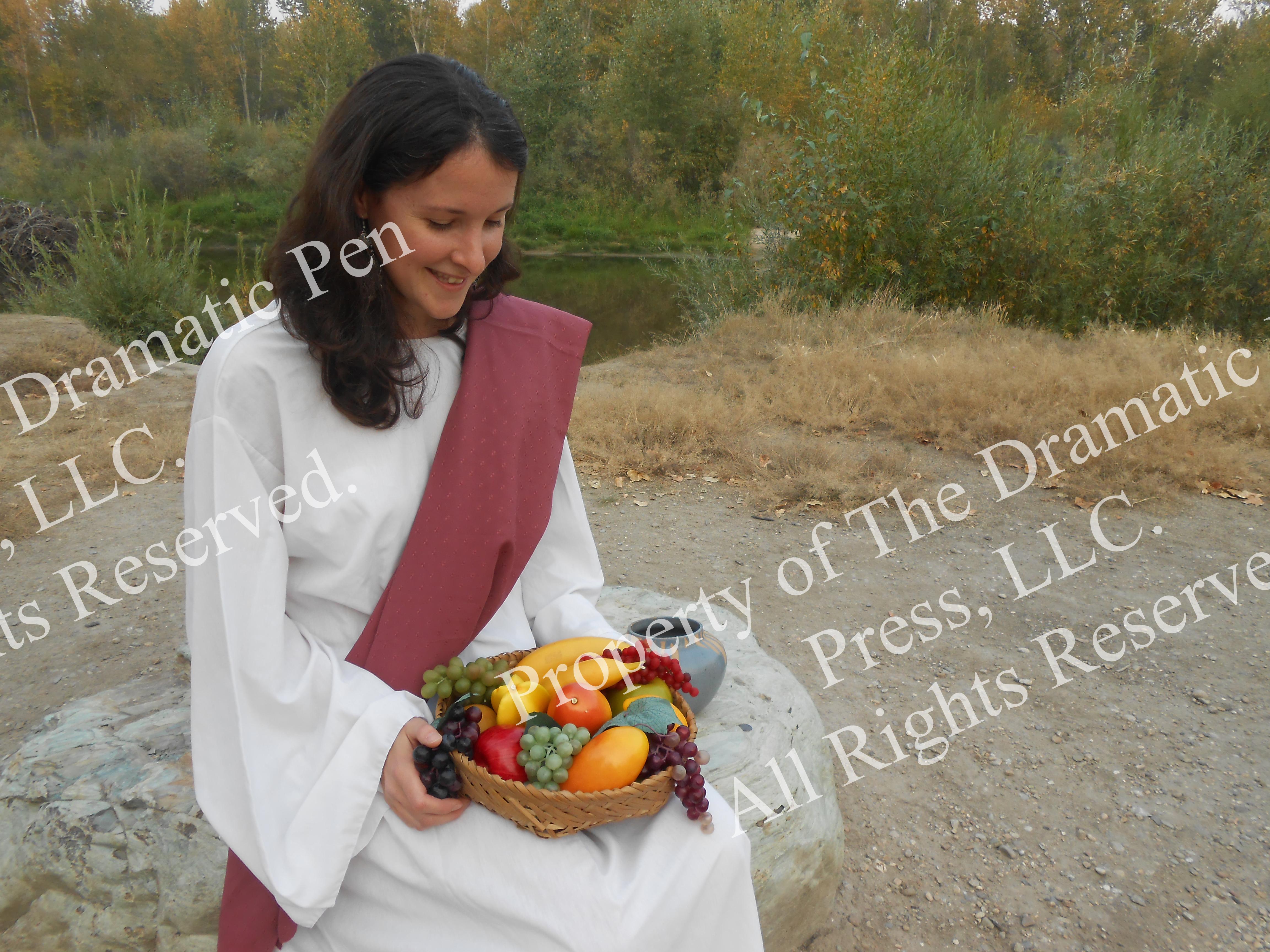 Biblical Woman Sitting & Smiling