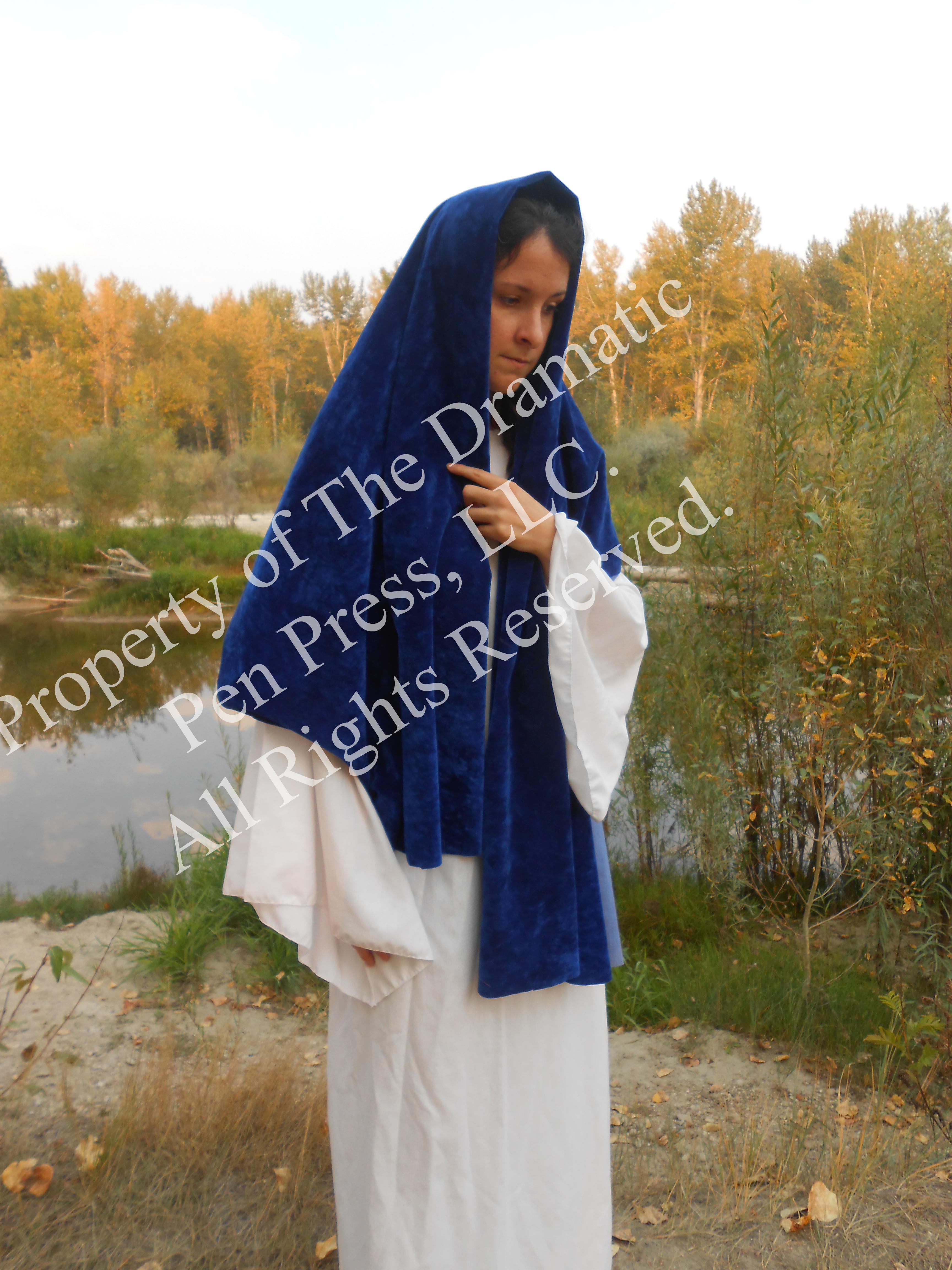 Sad Biblical Woman Blue White