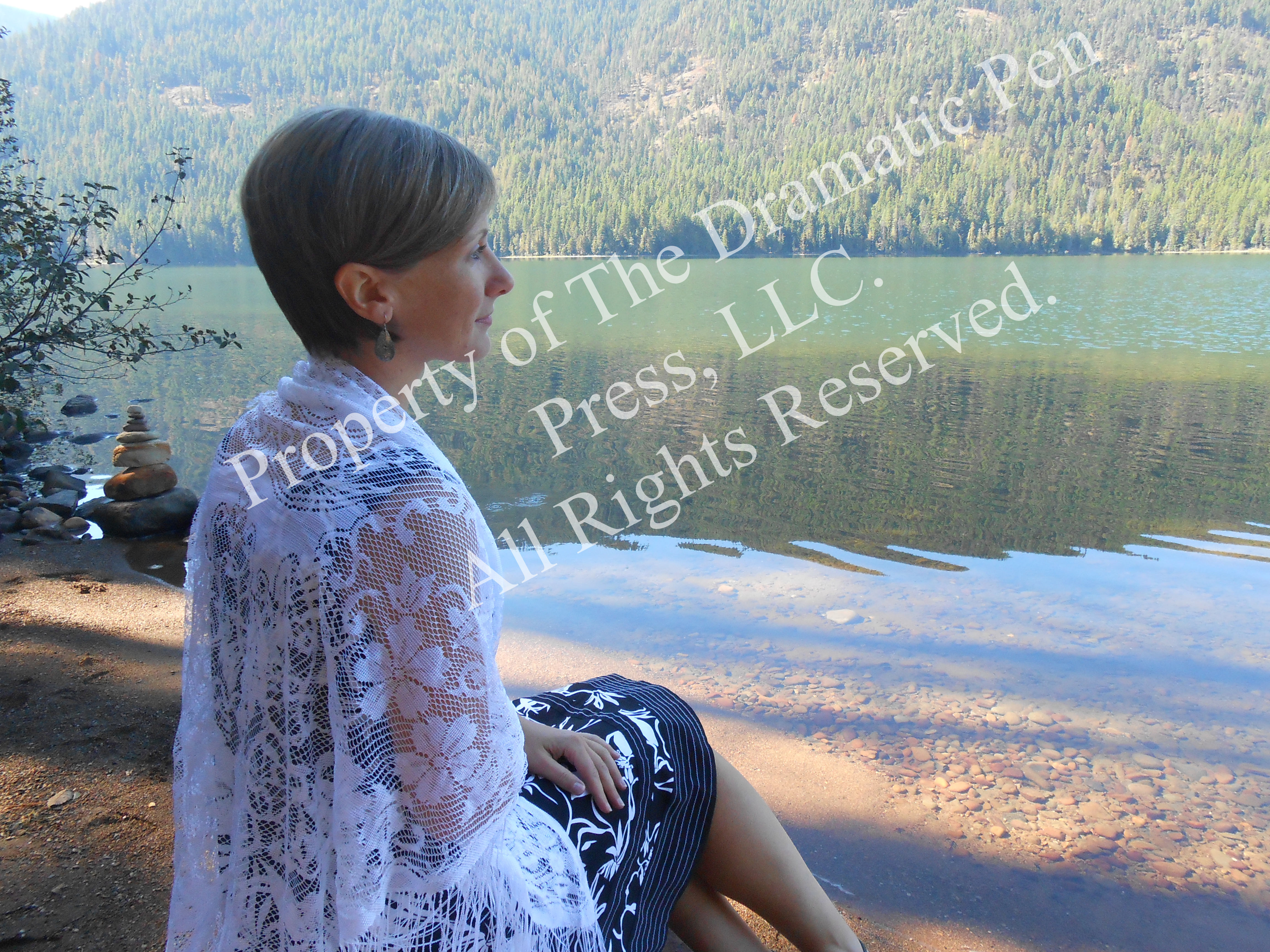 Young Woman in Lace by Lake Pensive