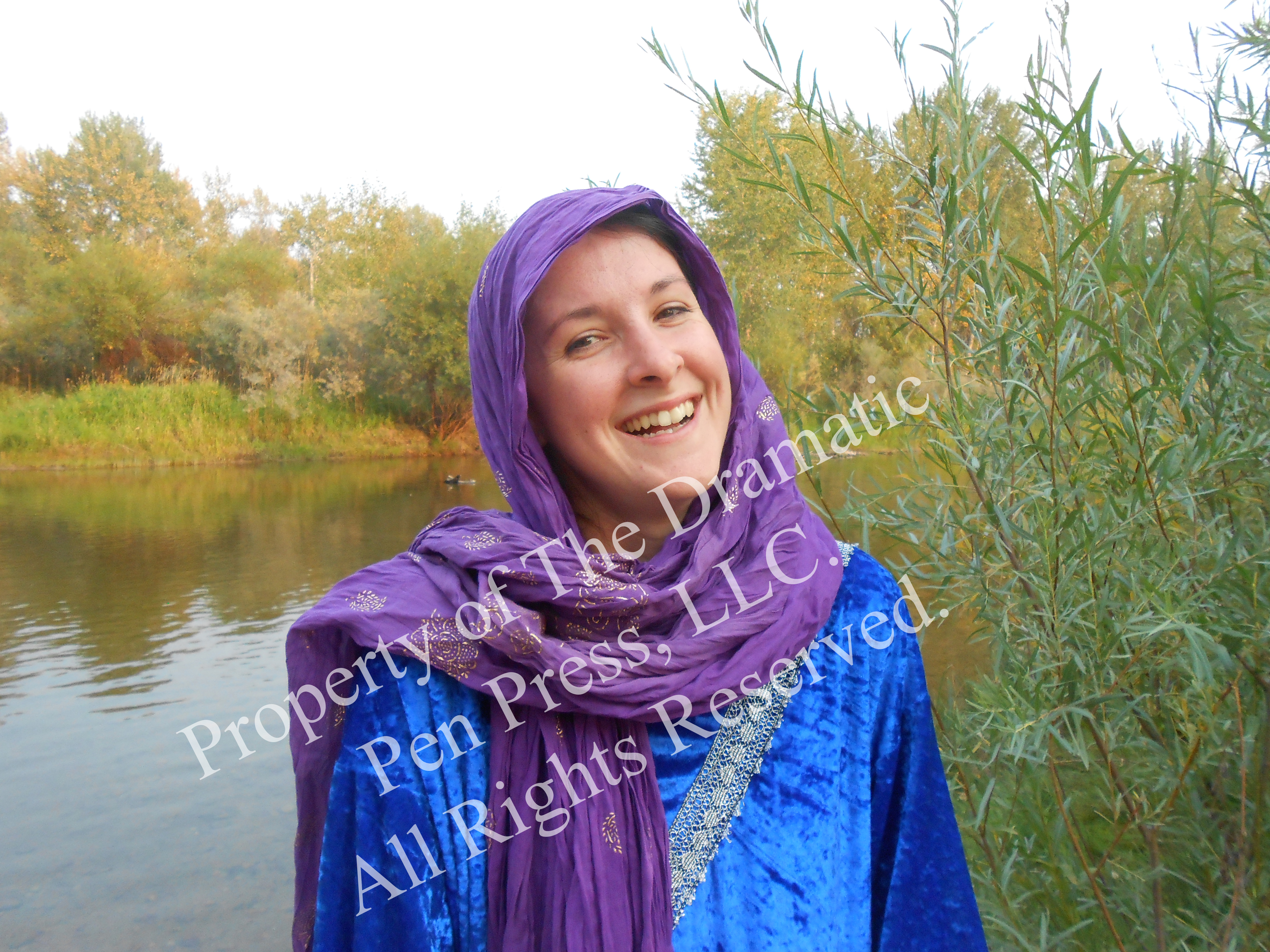 Laughing Biblical Woman by Water