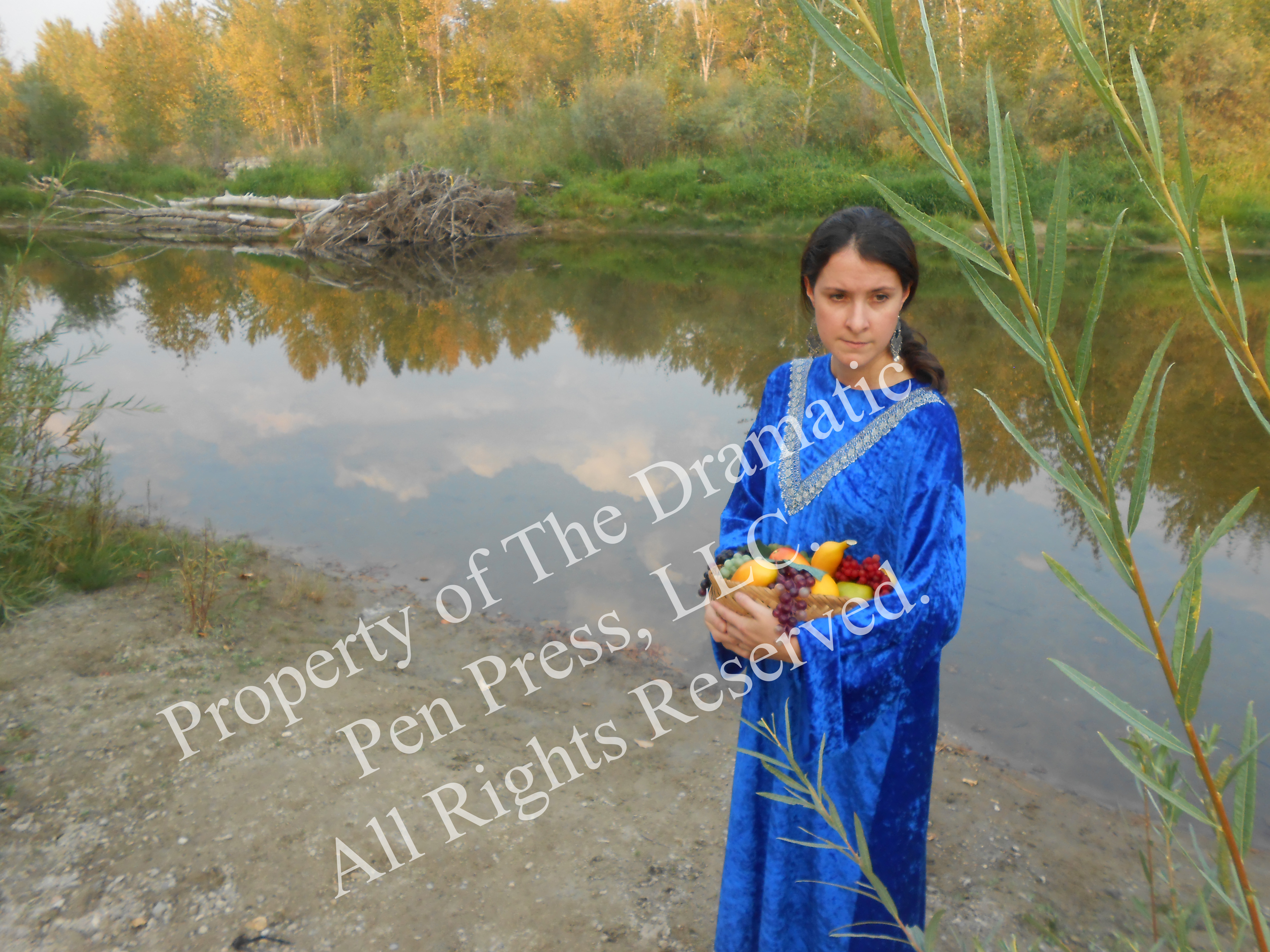 Biblical Woman River Reeds w Fruit
