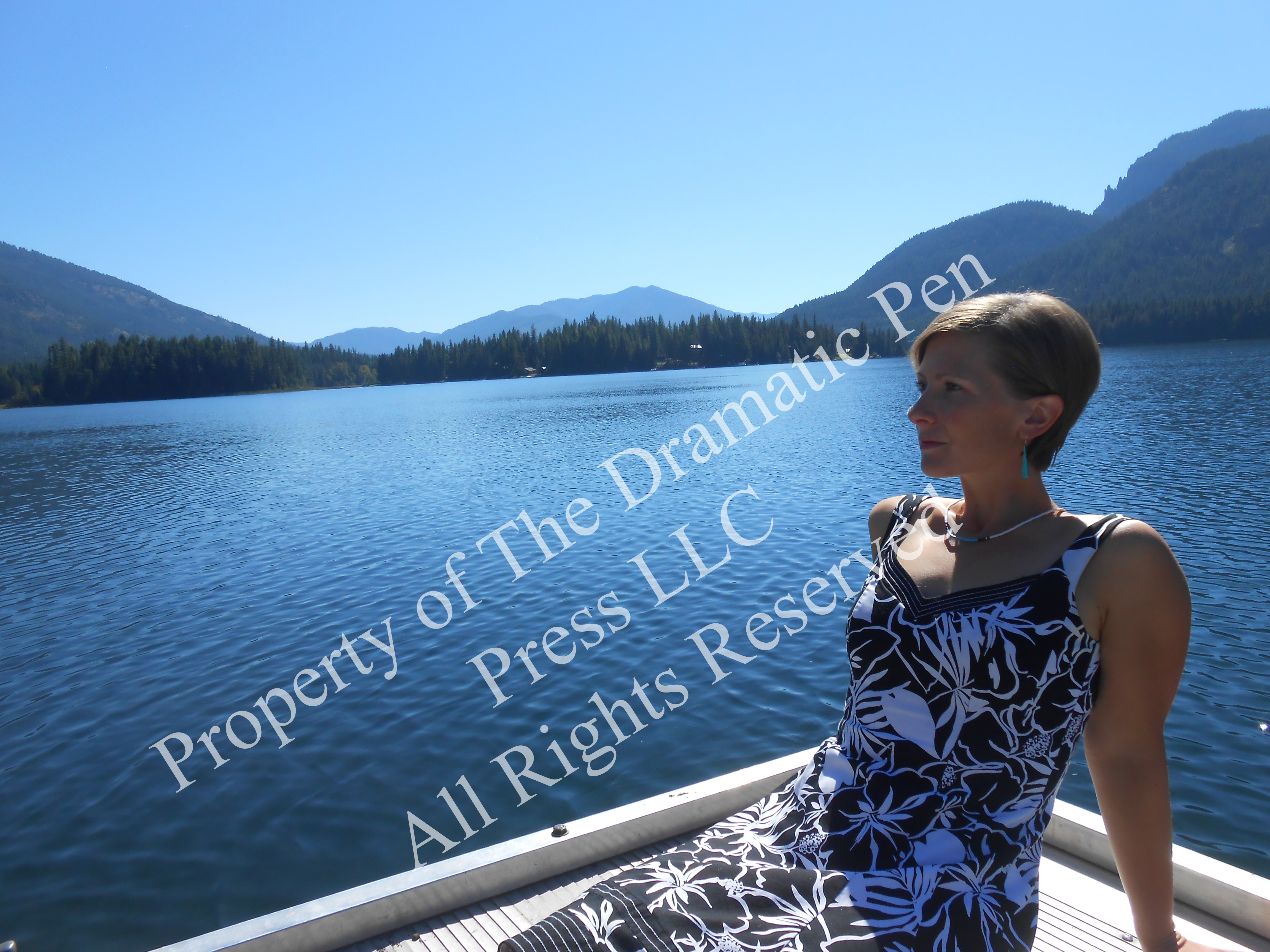 Pensive Woman Mountain Lake