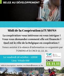 Midi de la Coopération à l'UMONS : séance d'information