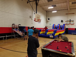 Bungee run and pool tables