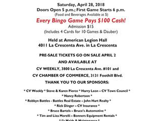 April 28, Bingo Fundraiser