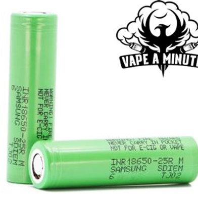 Samsung 25R 18650 Battery, 2500mAh, 20A, 3.6V, Lithium-Ion (INR18650-25R))