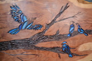 Detail, Blue Finches