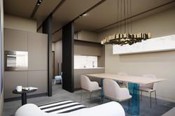 Kitchen at apartment, Tetris Hall