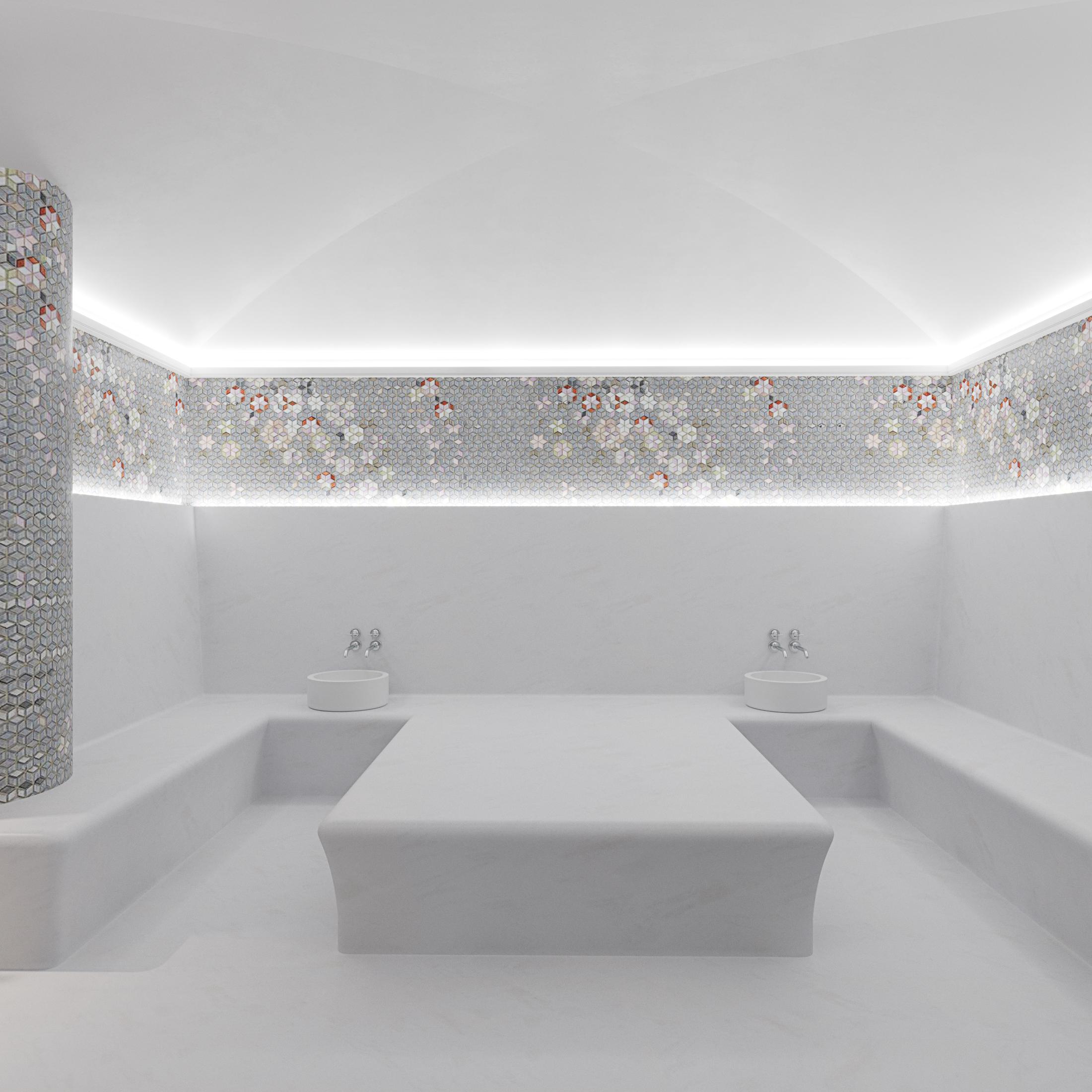 Turkish sauna with massage table