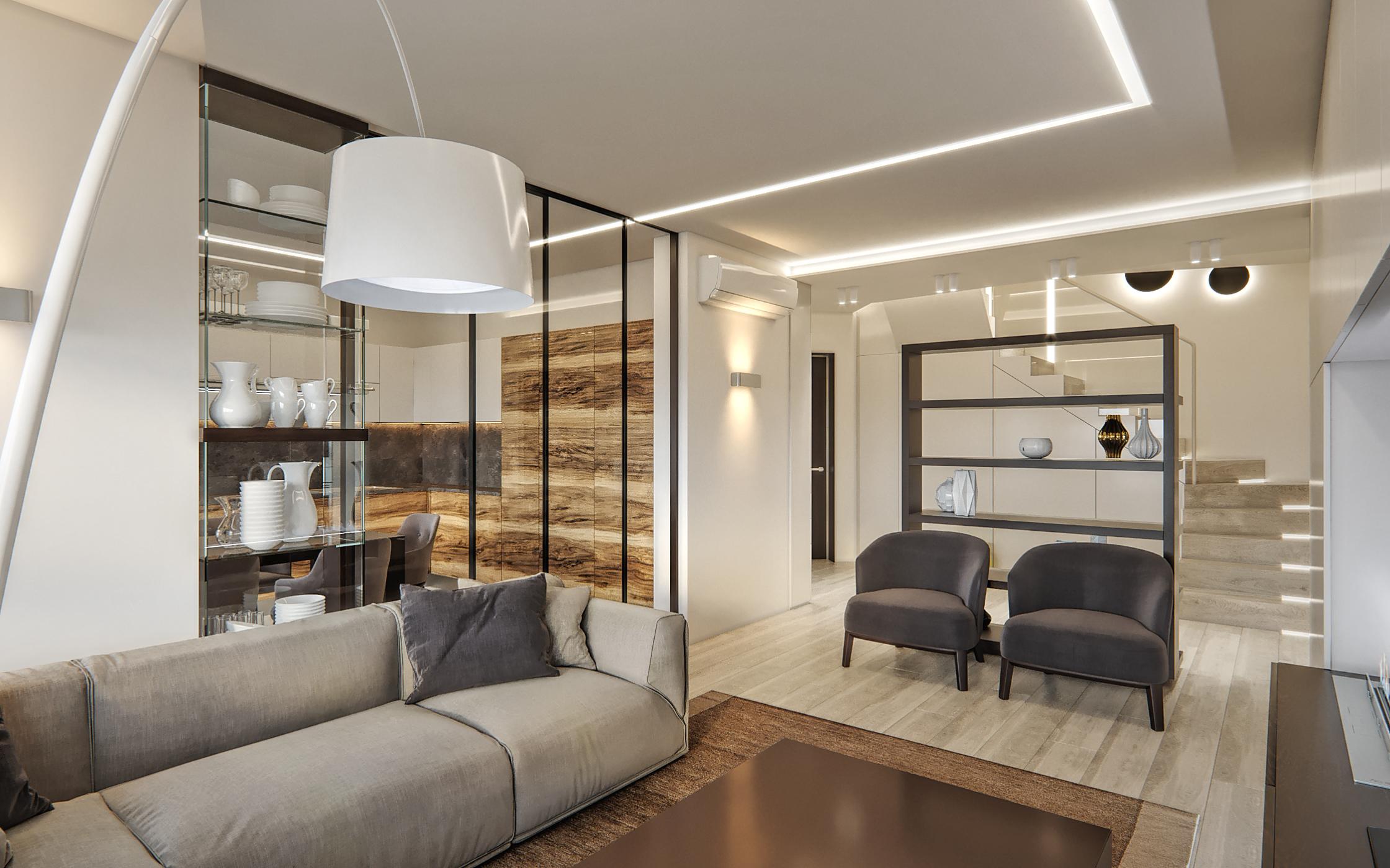 Two-level modern big family interior