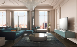 All-white parisian panorama apart at Crystal Park penthouse