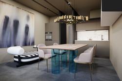 Living room at apartment, Tetris Hall
