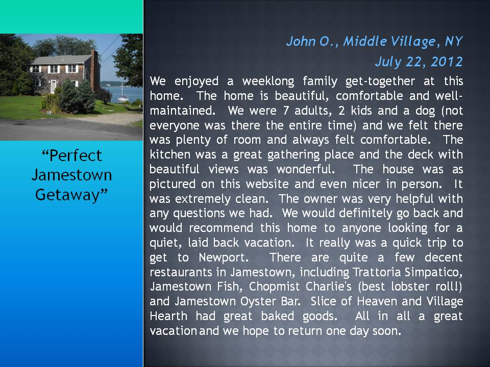 Vacation Rental Homes Jamestown RI