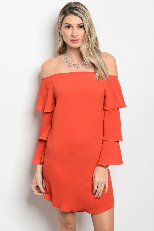 001fc1f9e99d Rust off shoulder dress
