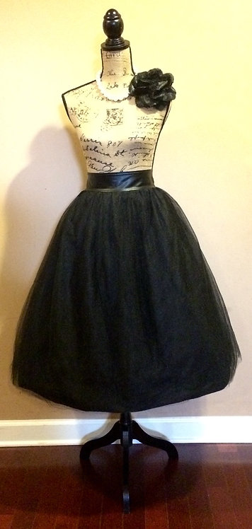 N. D. Faux Band Tulled Skirt