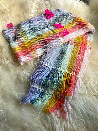 Rainbowlicious Handwoven Scarf, no. 1 🌈🧣