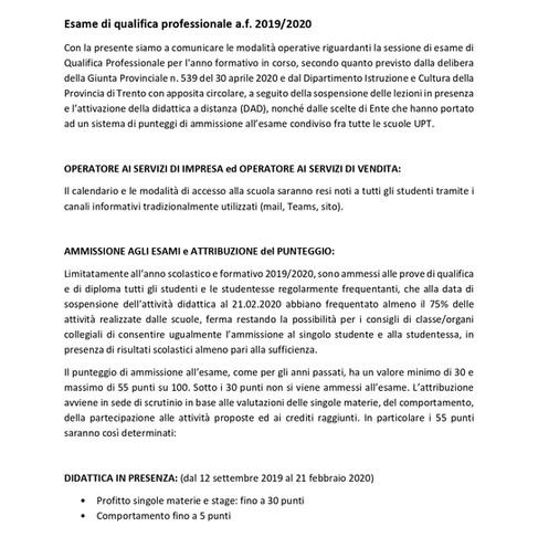 ROVERETO - INDICAZIONI OPERATIVE ESAME DI QUALIFICA OSV