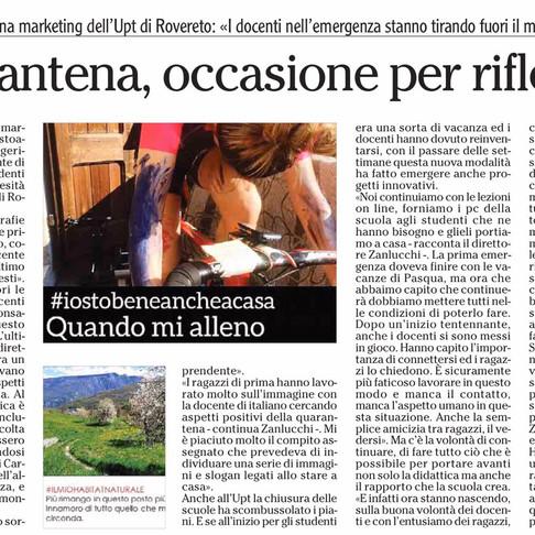 """UPT ROVERETO - DICONO DI NOI: """"Quarantena, occasione per riflettere"""""""